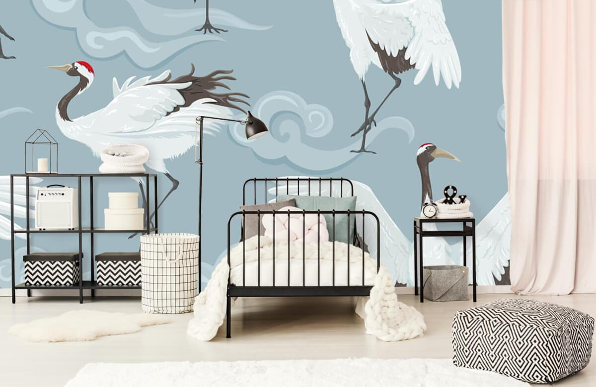 pattern Kraanvogels en wolken 2