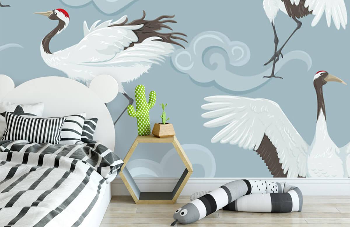 pattern Kraanvogels en wolken 3