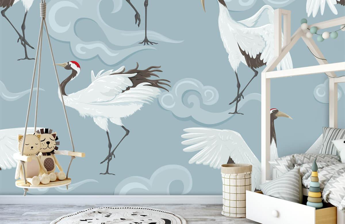 pattern Kraanvogels en wolken 4