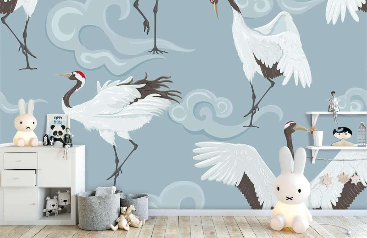 pattern Kraanvogels en wolken 1