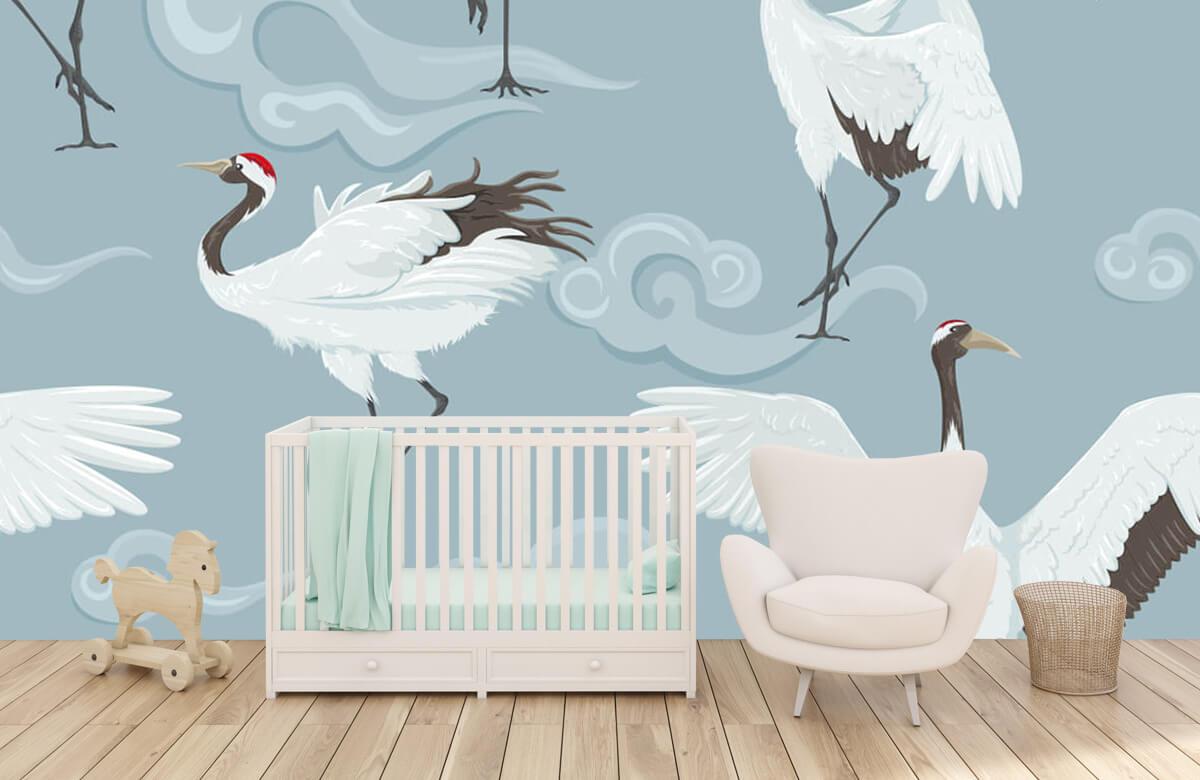 pattern Kraanvogels en wolken 5