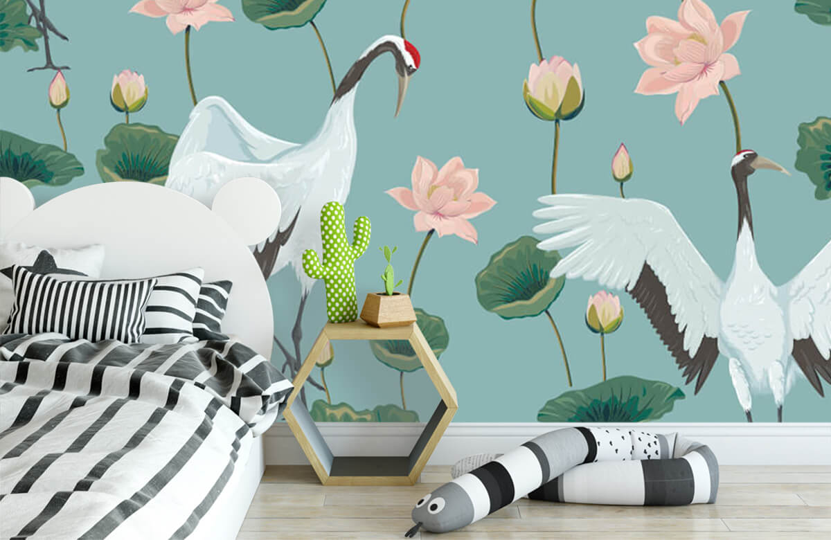 pattern Kraanvogels en bloemen 4