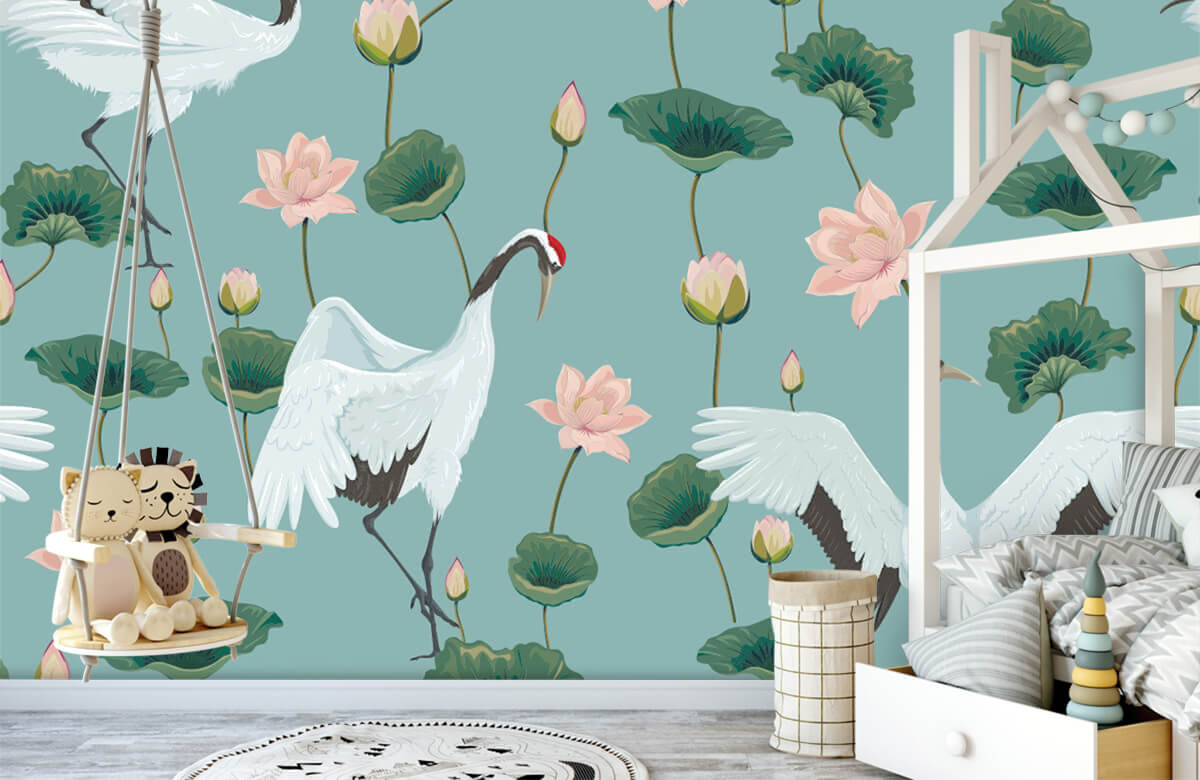 pattern Kraanvogels en bloemen 1