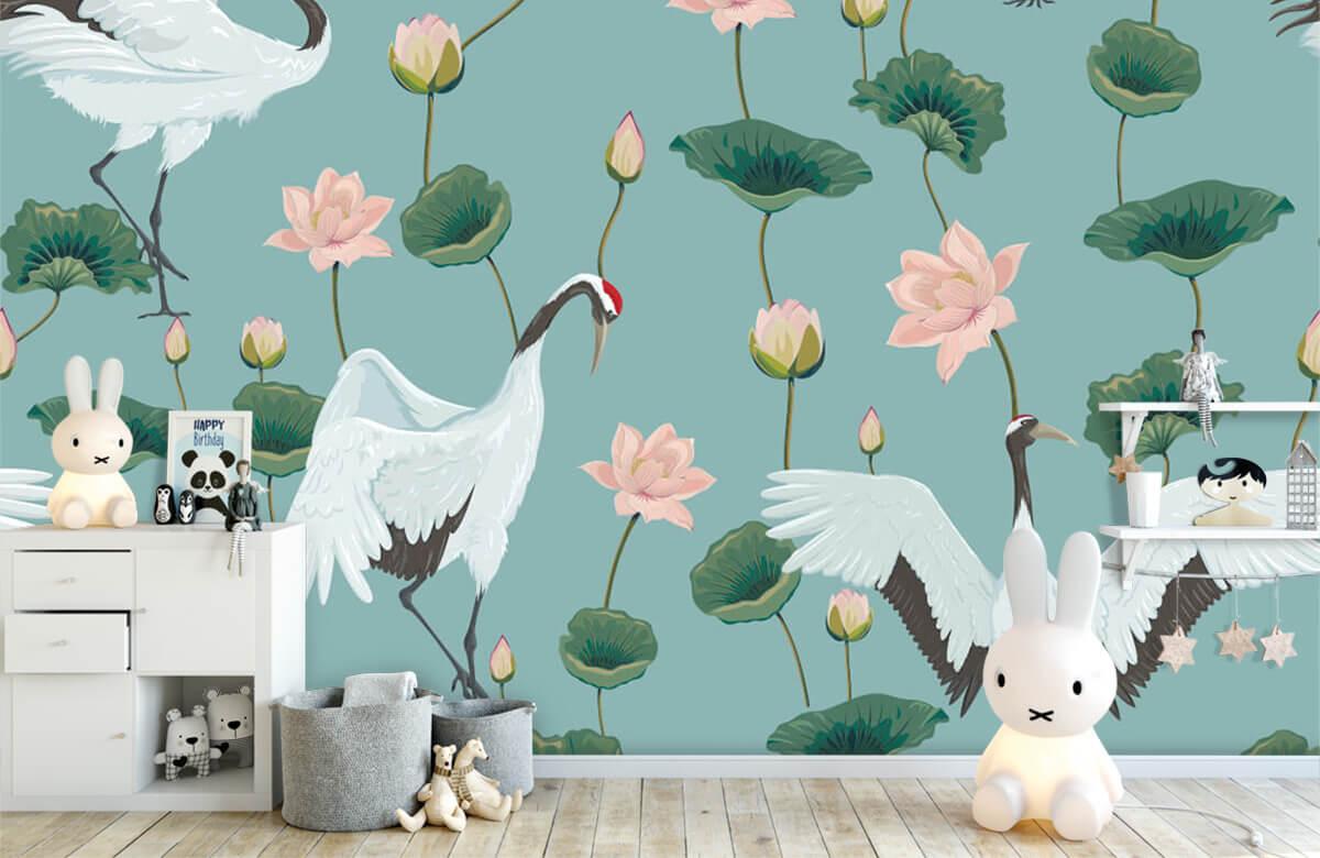 pattern Kraanvogels en bloemen 5