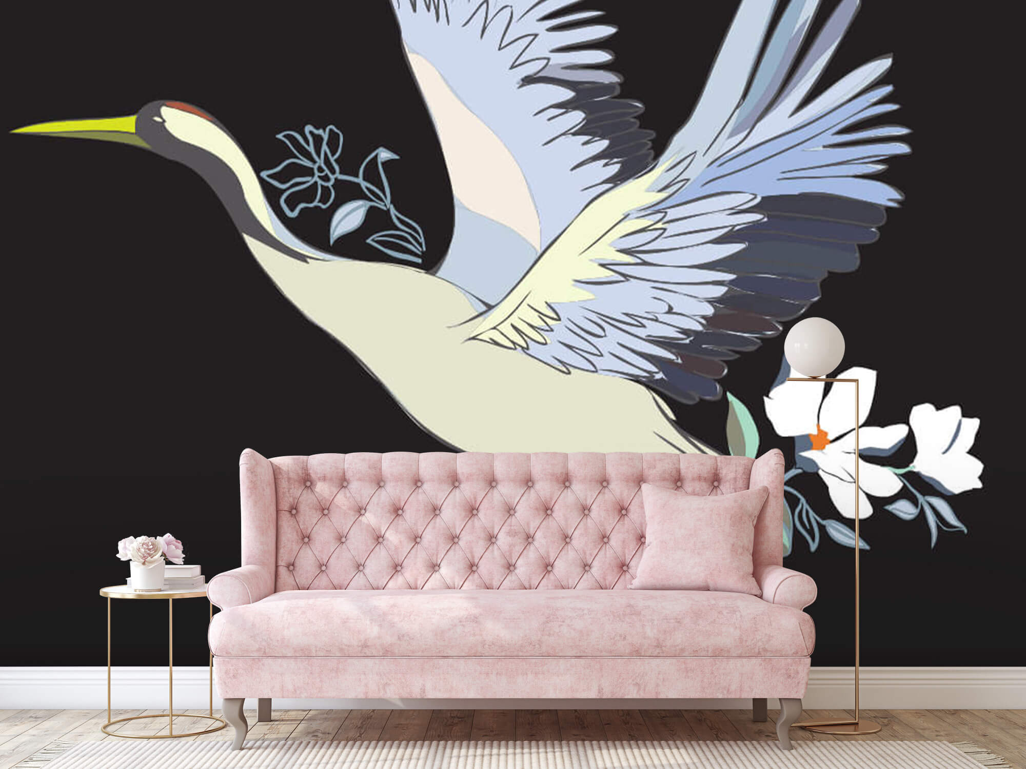 pattern Geverfde kraanvogel 4