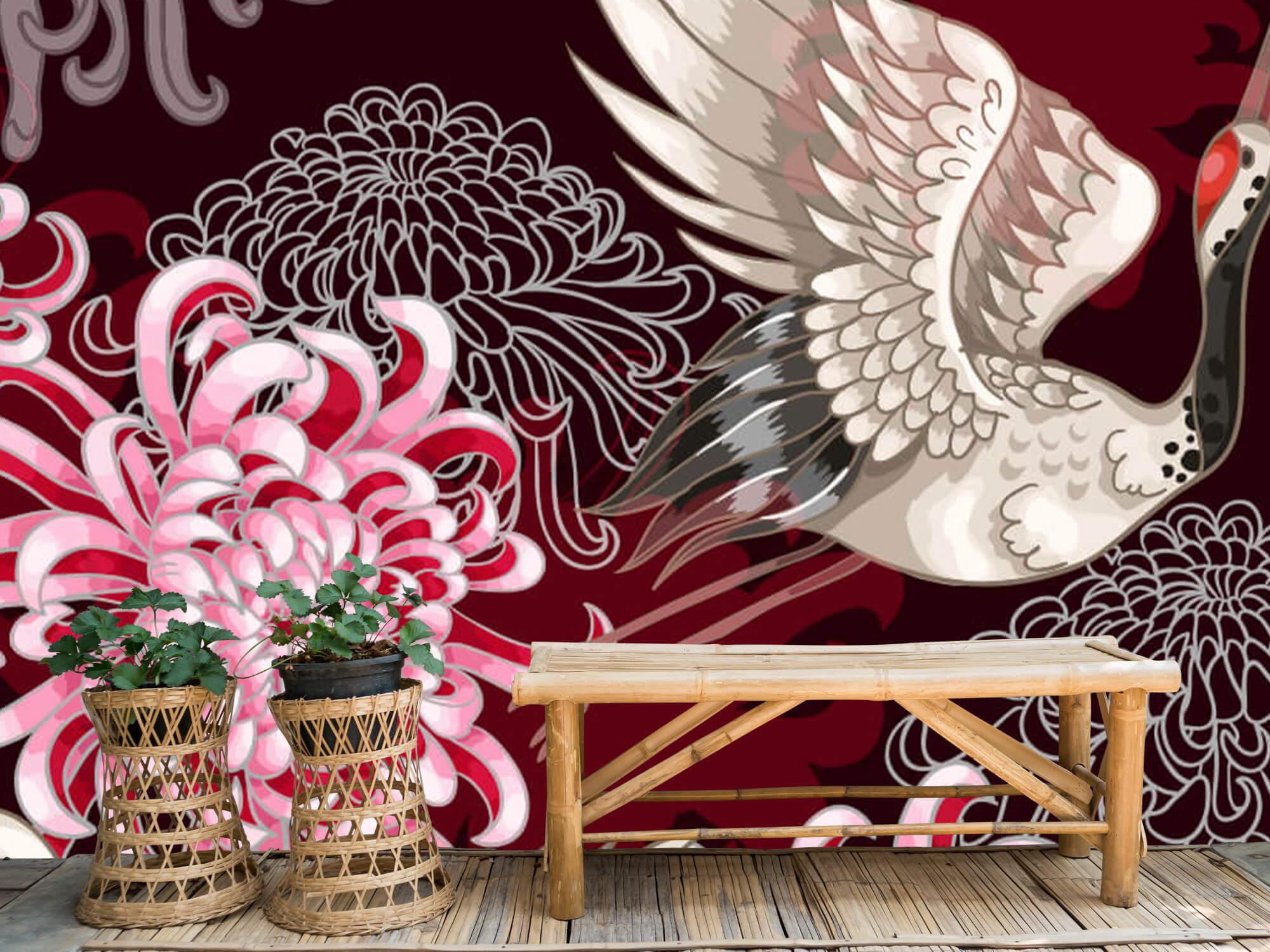 pattern Kraanvogel patroon roze 3