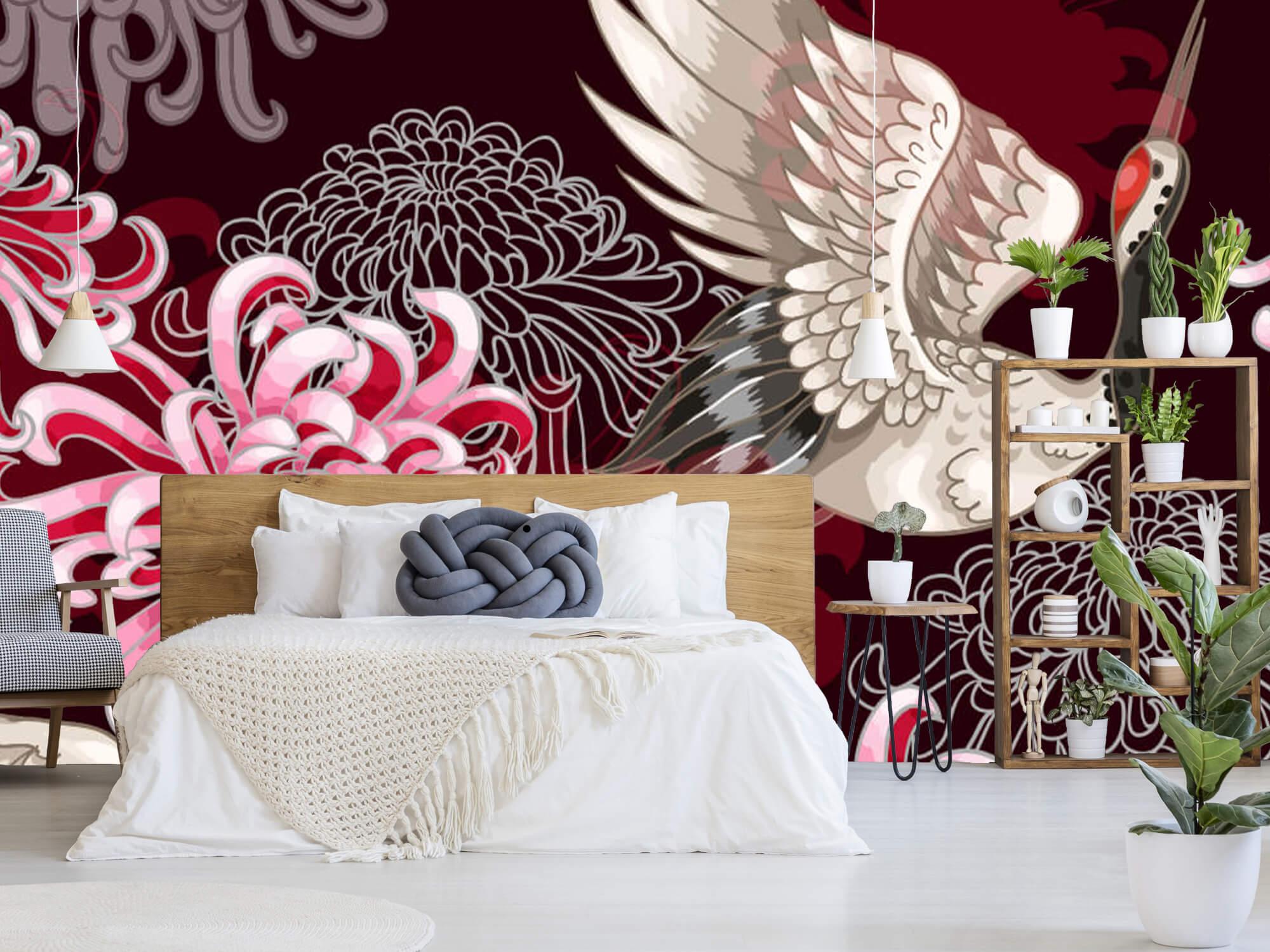 pattern Kraanvogel patroon roze 5