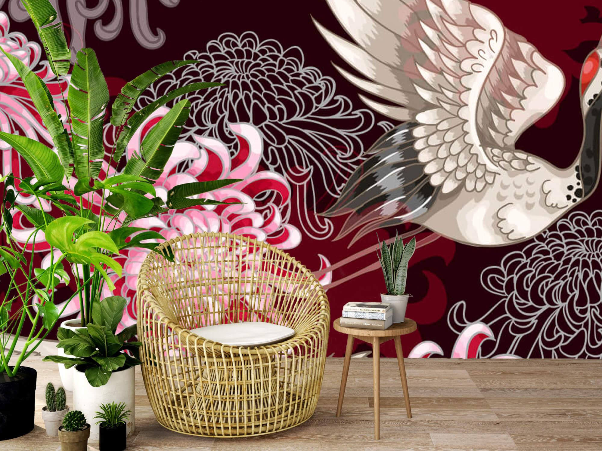 pattern Kraanvogel patroon roze 7