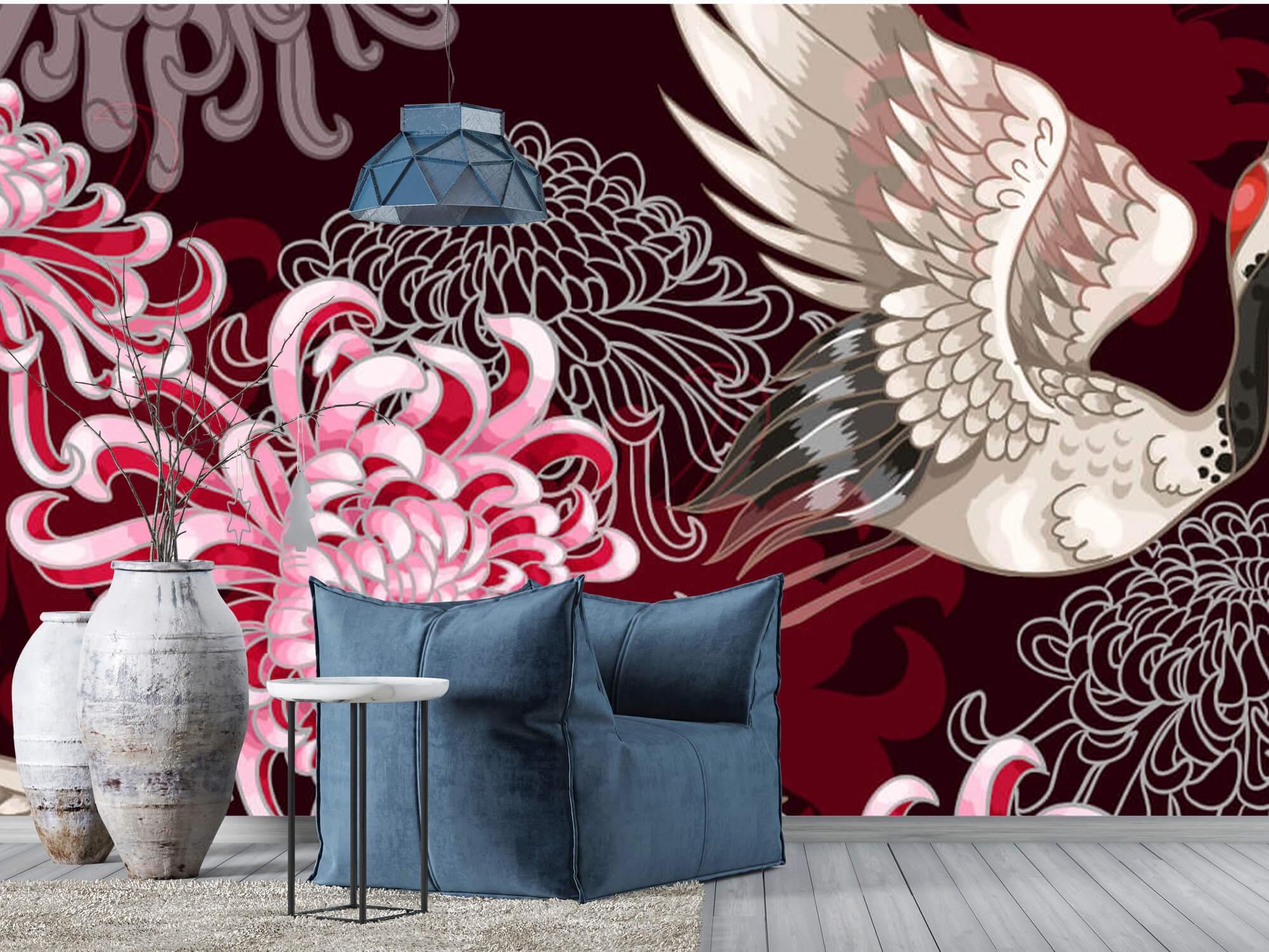 pattern Kraanvogel patroon roze 8