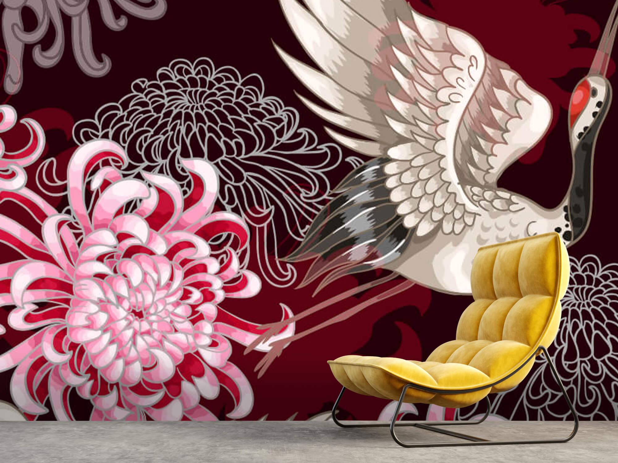 pattern Kraanvogel patroon roze 9