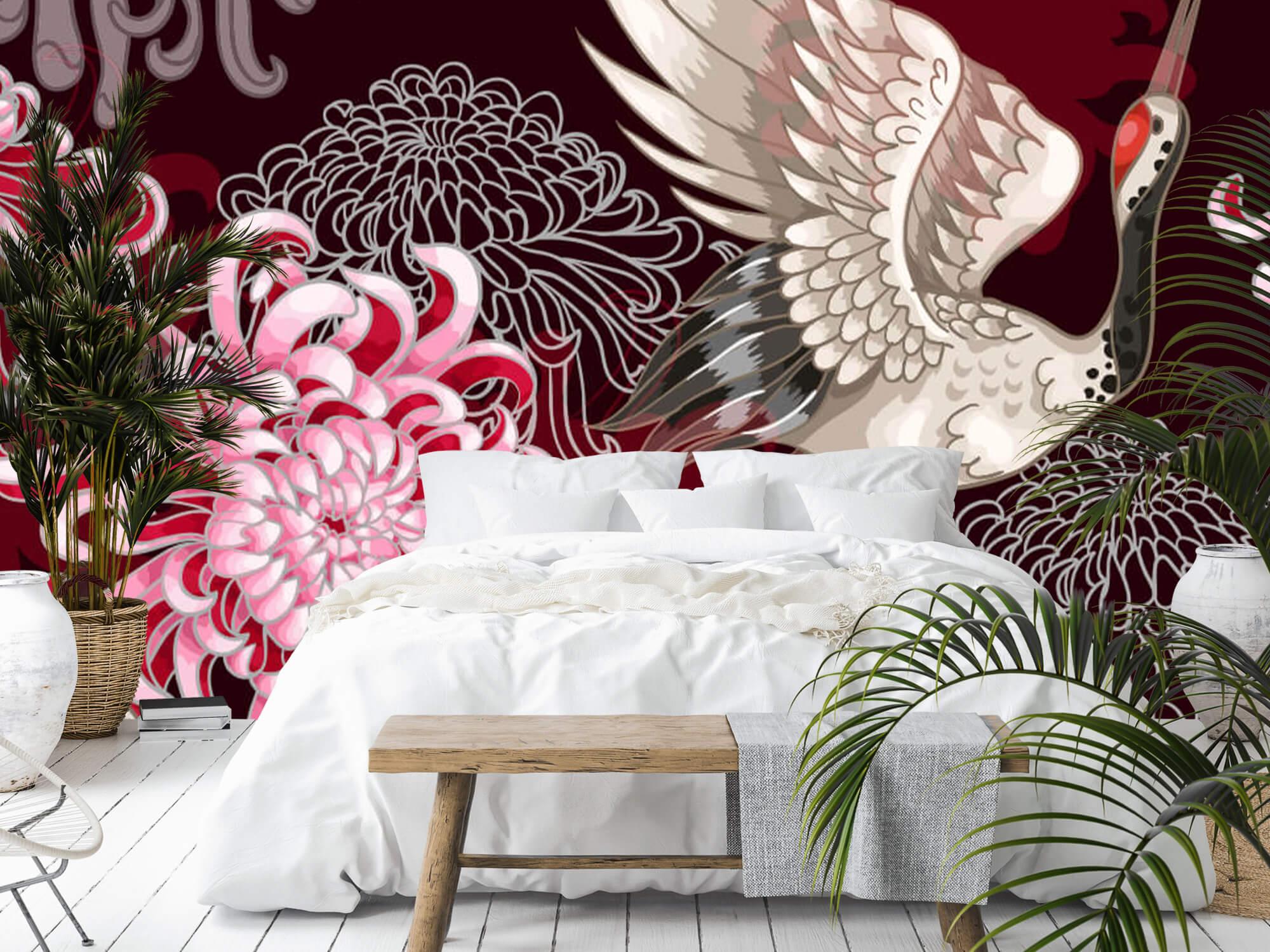 pattern Kraanvogel patroon roze 1