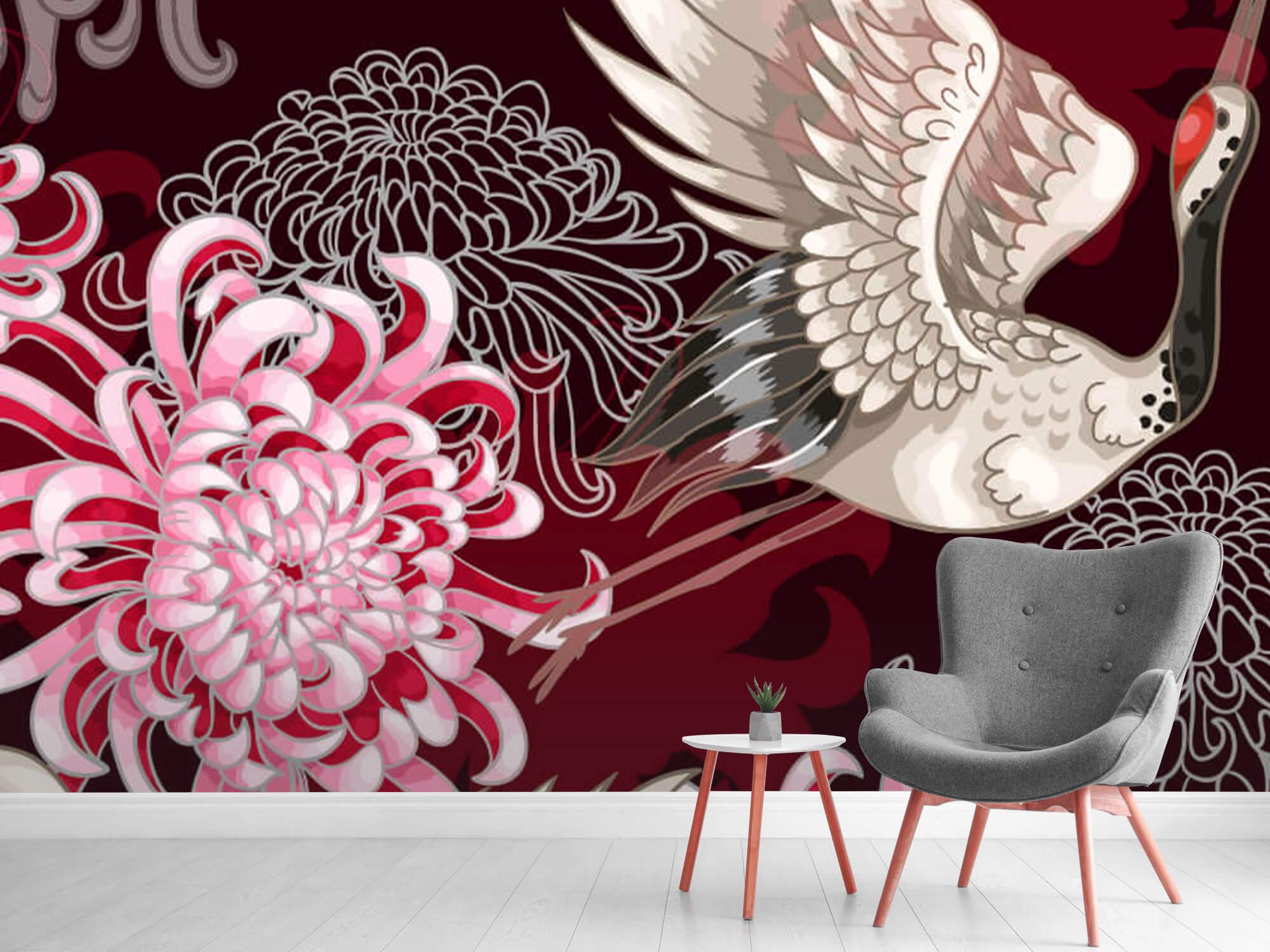 pattern Kraanvogel patroon roze 11