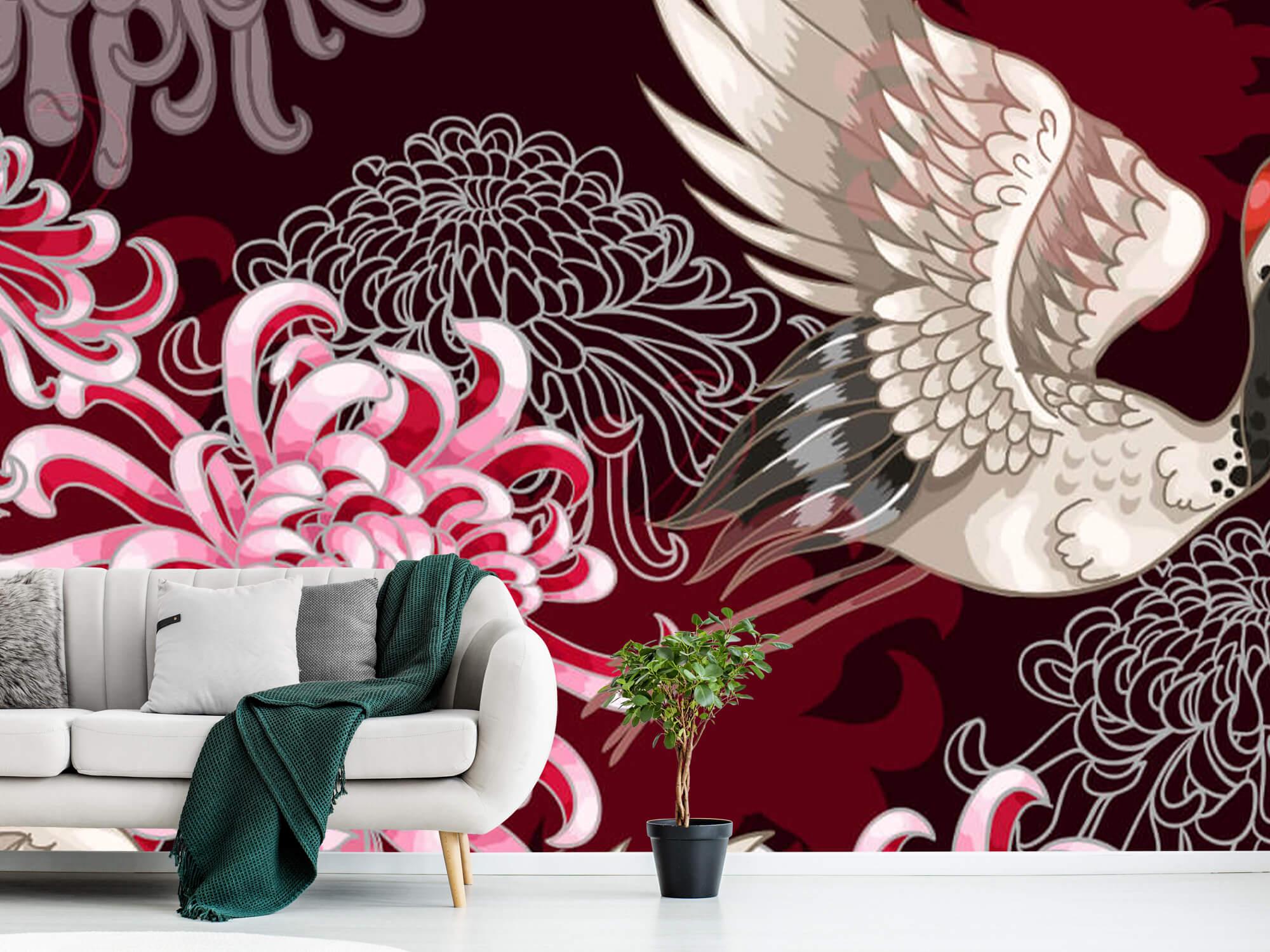 pattern Kraanvogel patroon roze 10