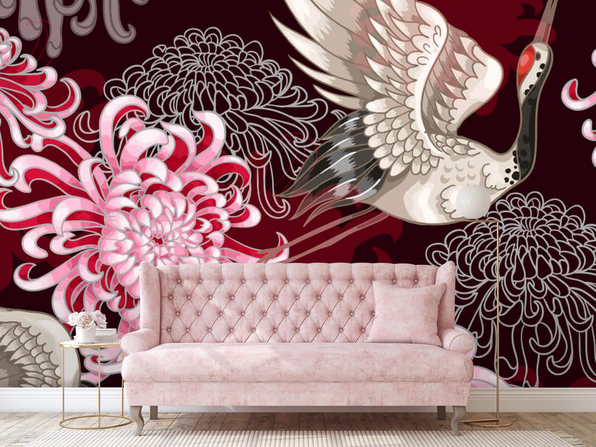 pattern Kraanvogel patroon roze 4