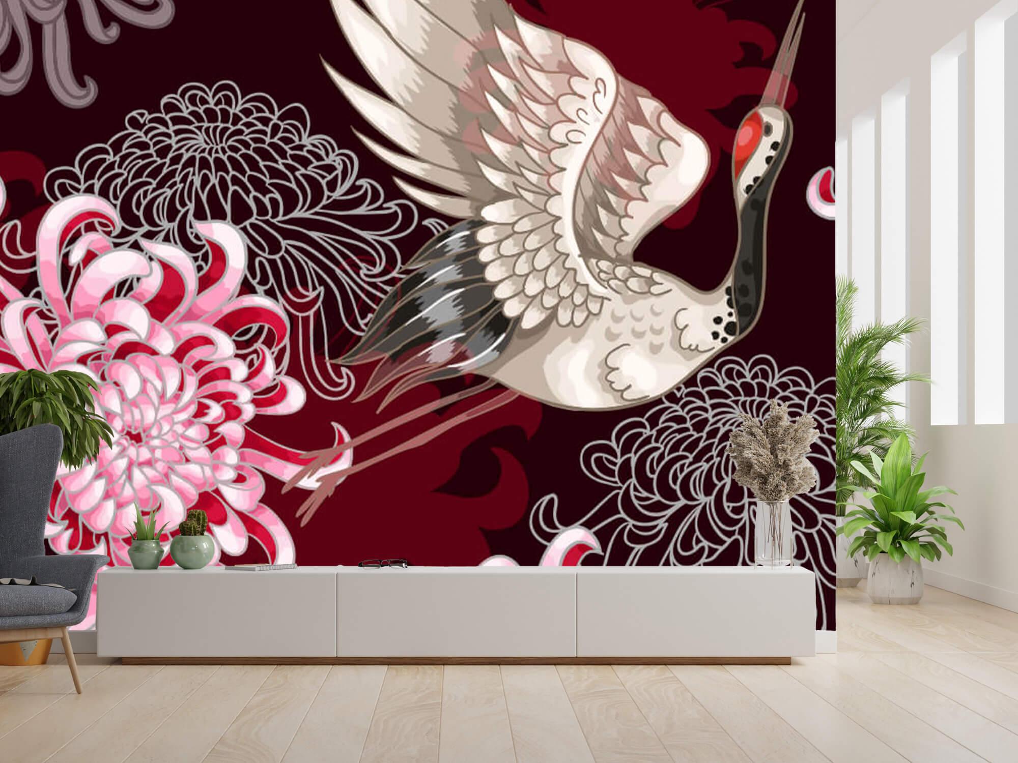 pattern Kraanvogel patroon roze 2