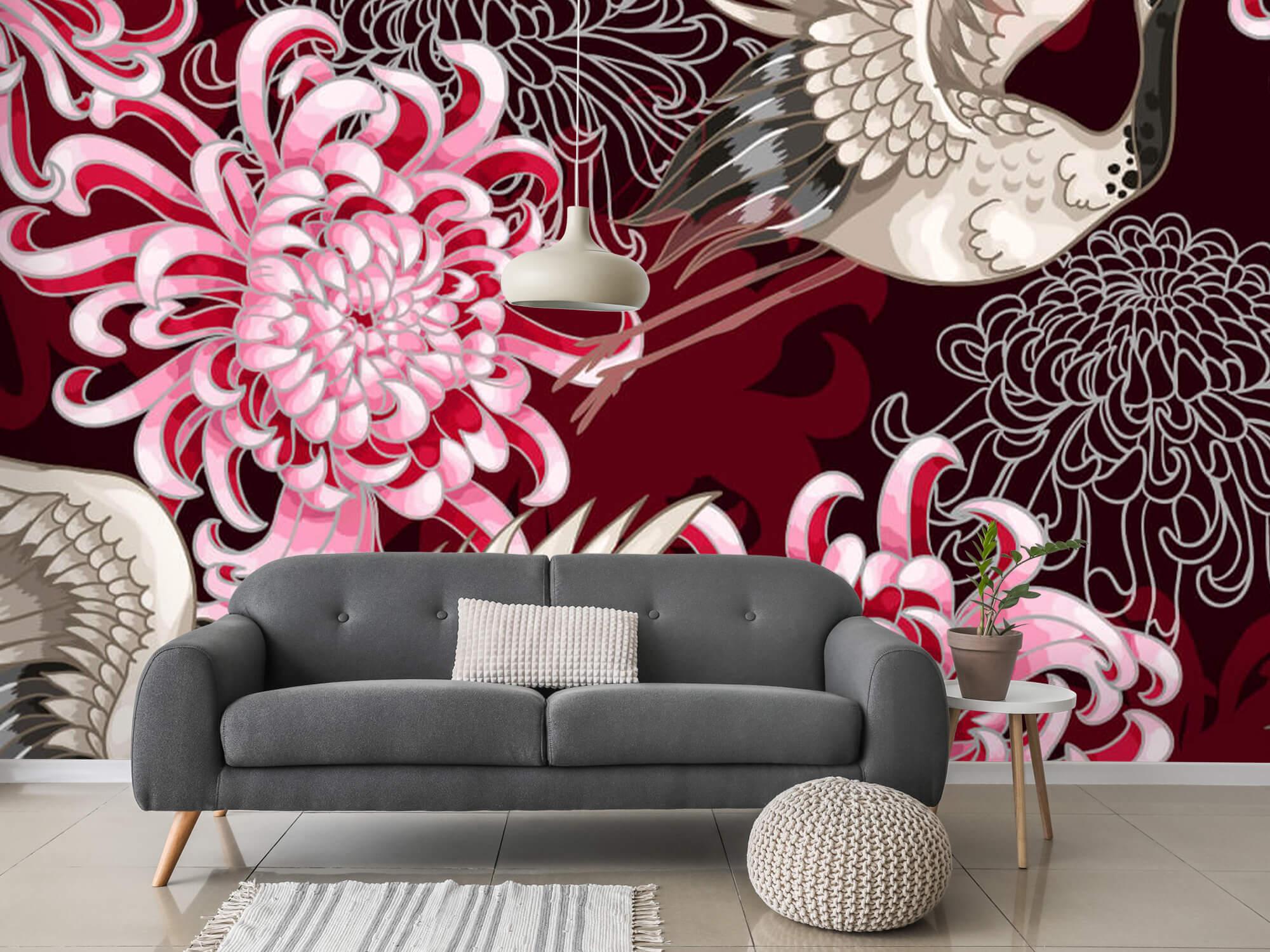pattern Kraanvogel patroon roze 6