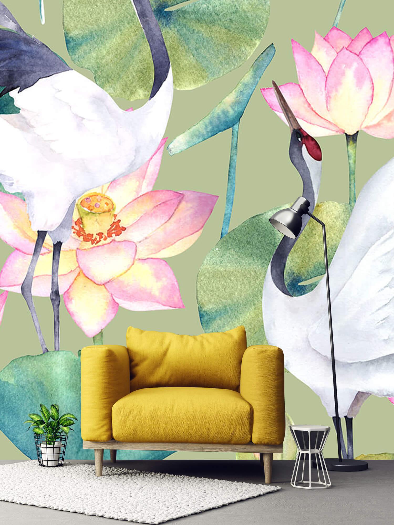 Kraanvogels tussen de bloemen 2