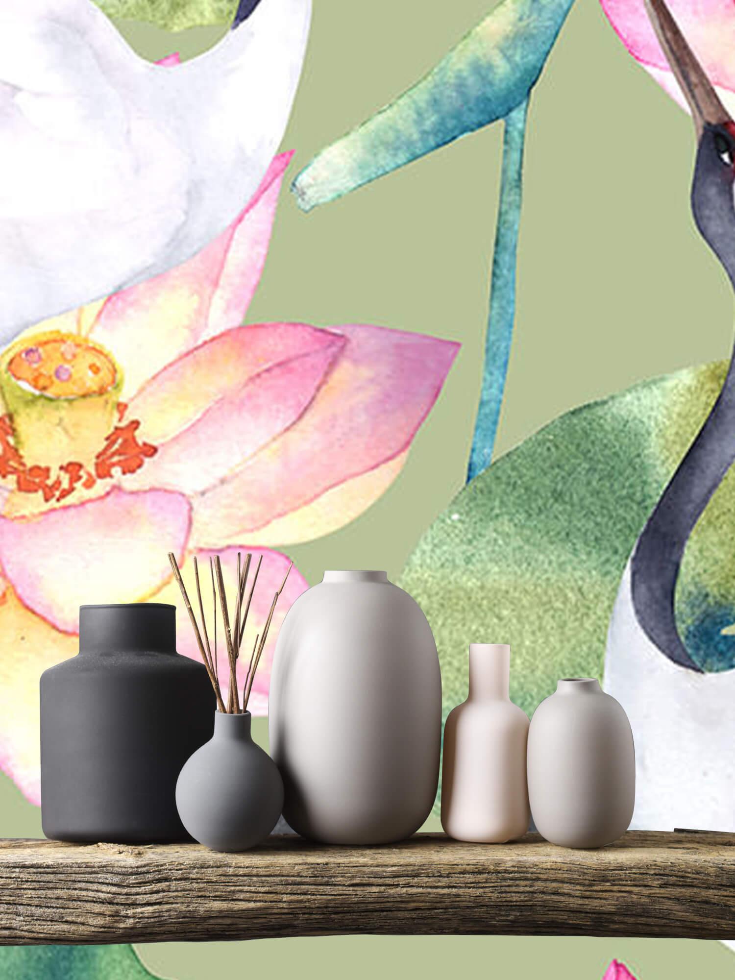 Kraanvogels tussen de bloemen 4