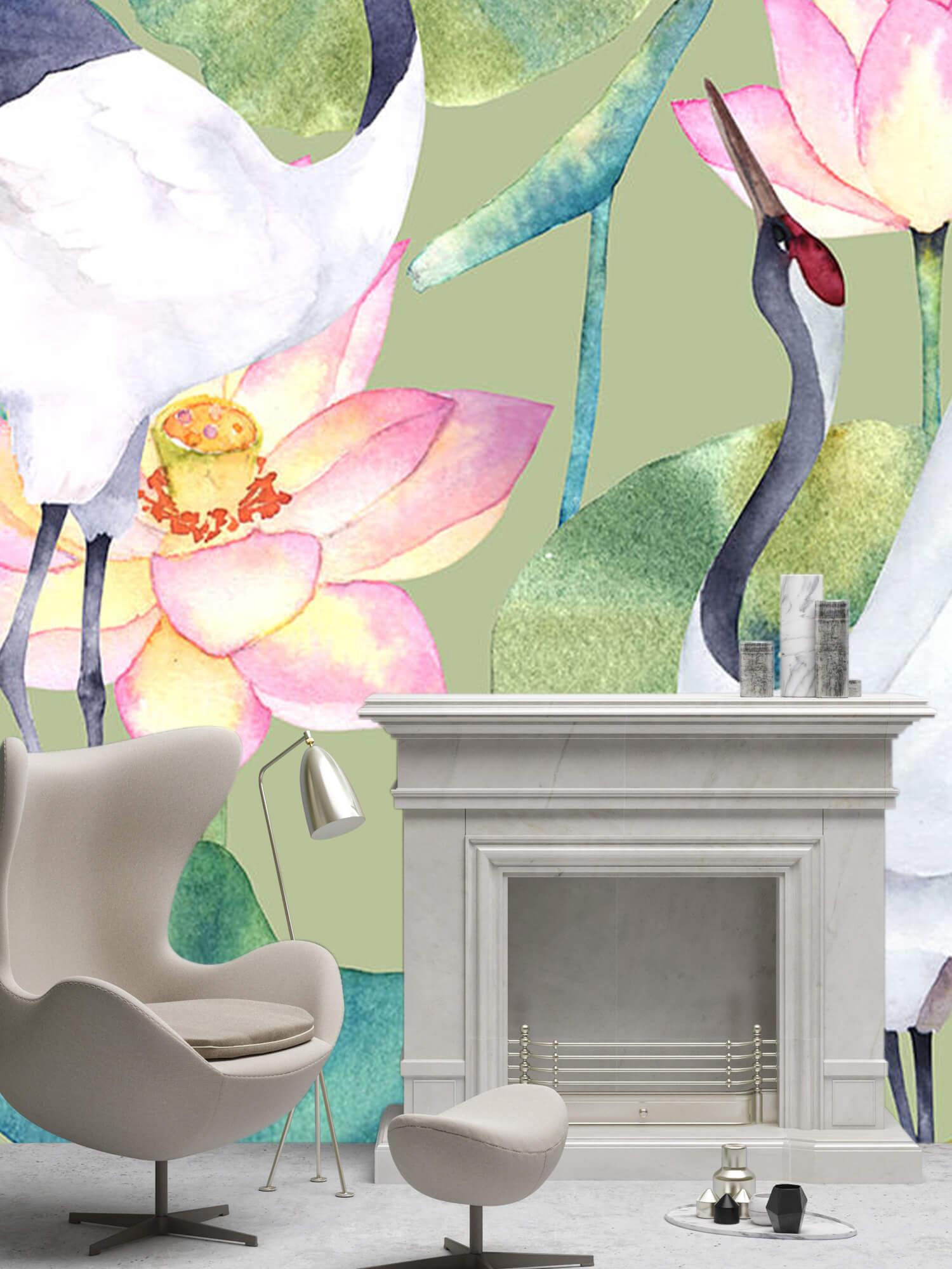 Kraanvogels tussen de bloemen 6