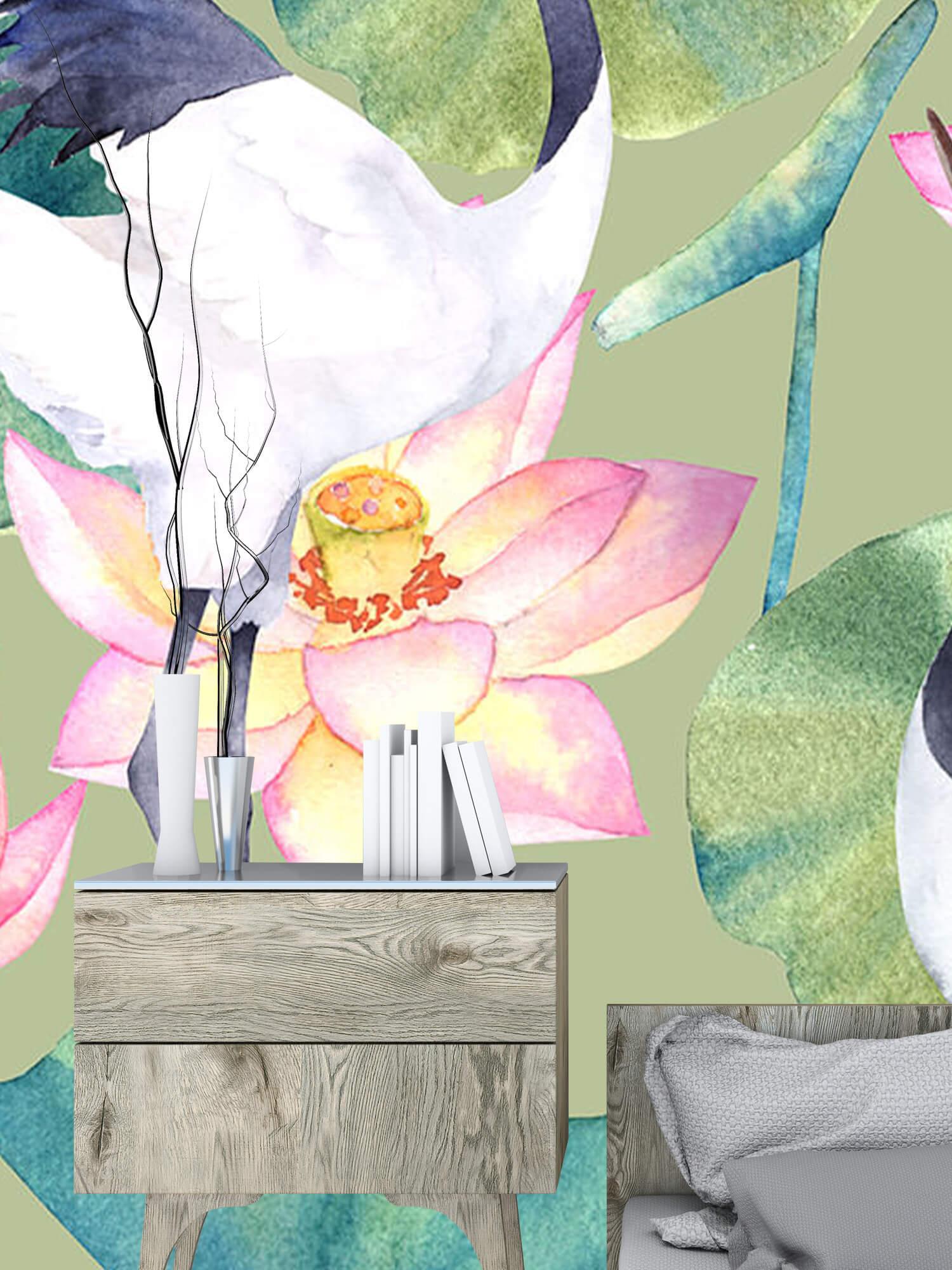 Kraanvogels tussen de bloemen 9