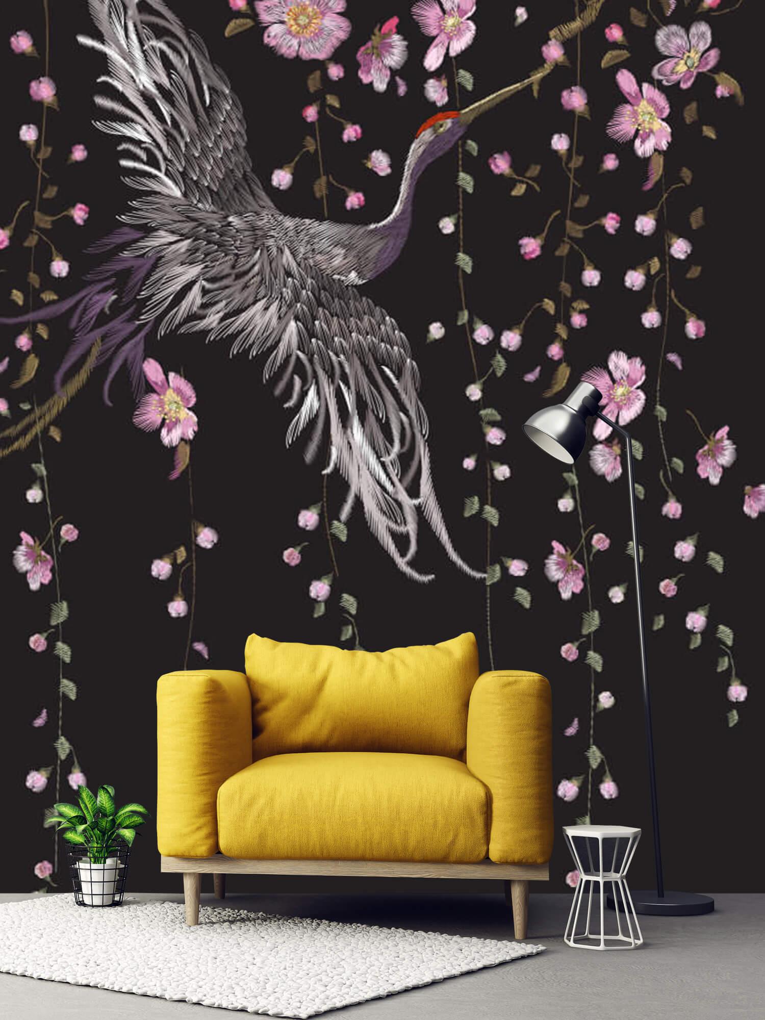 pattern Kraanvogel bij roze bloemen 5