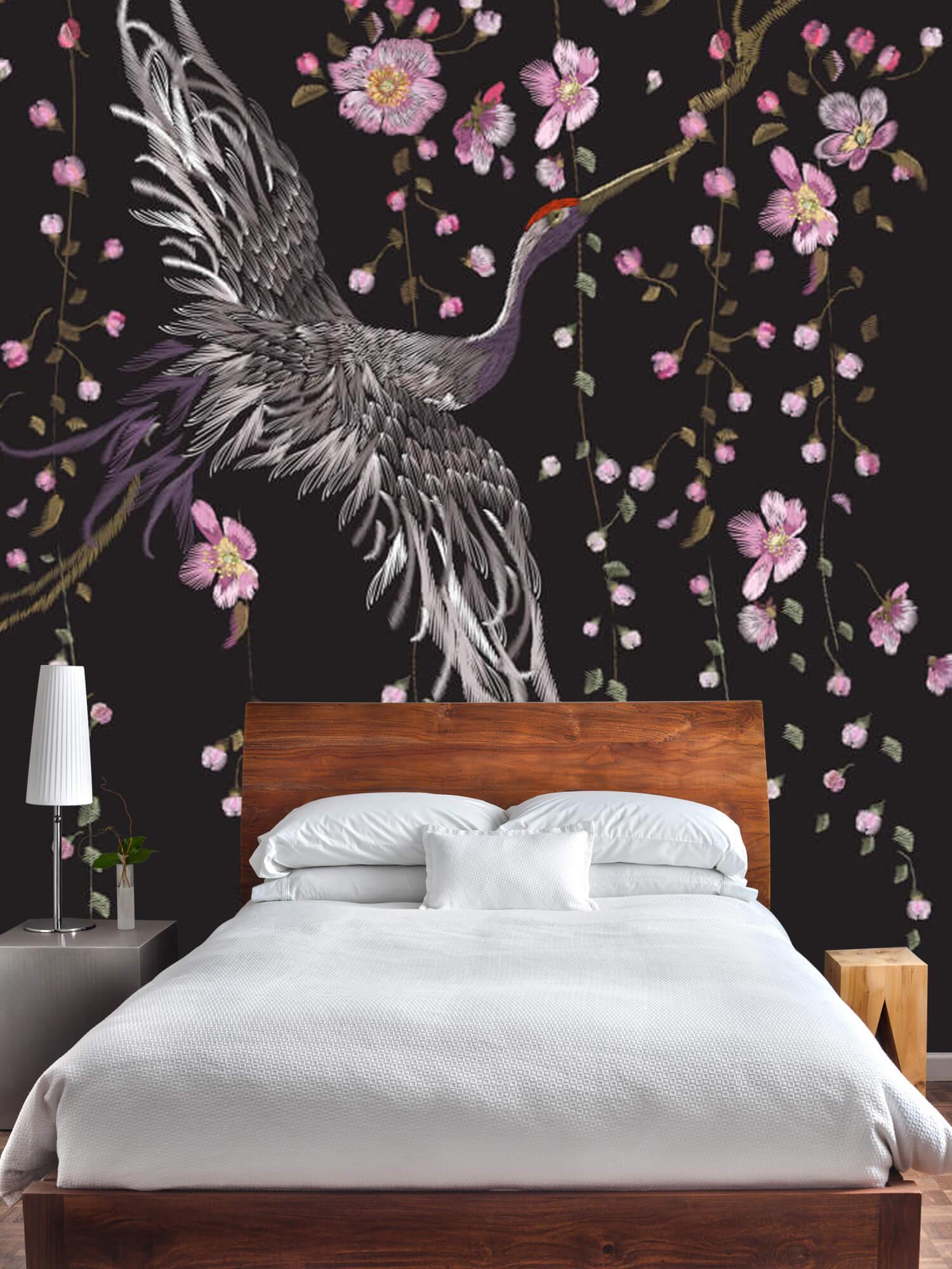 pattern Kraanvogel bij roze bloemen 6