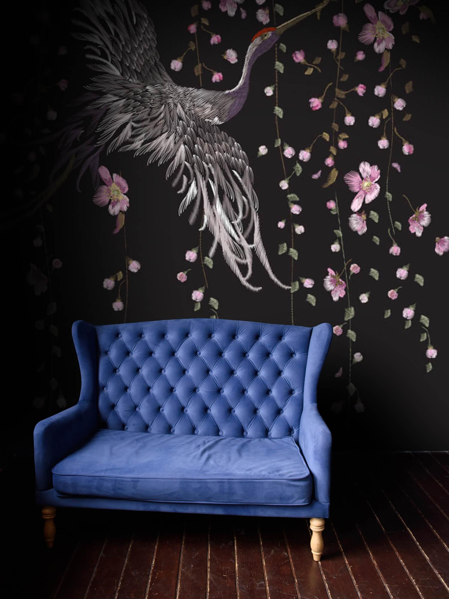 pattern Kraanvogel bij roze bloemen 7