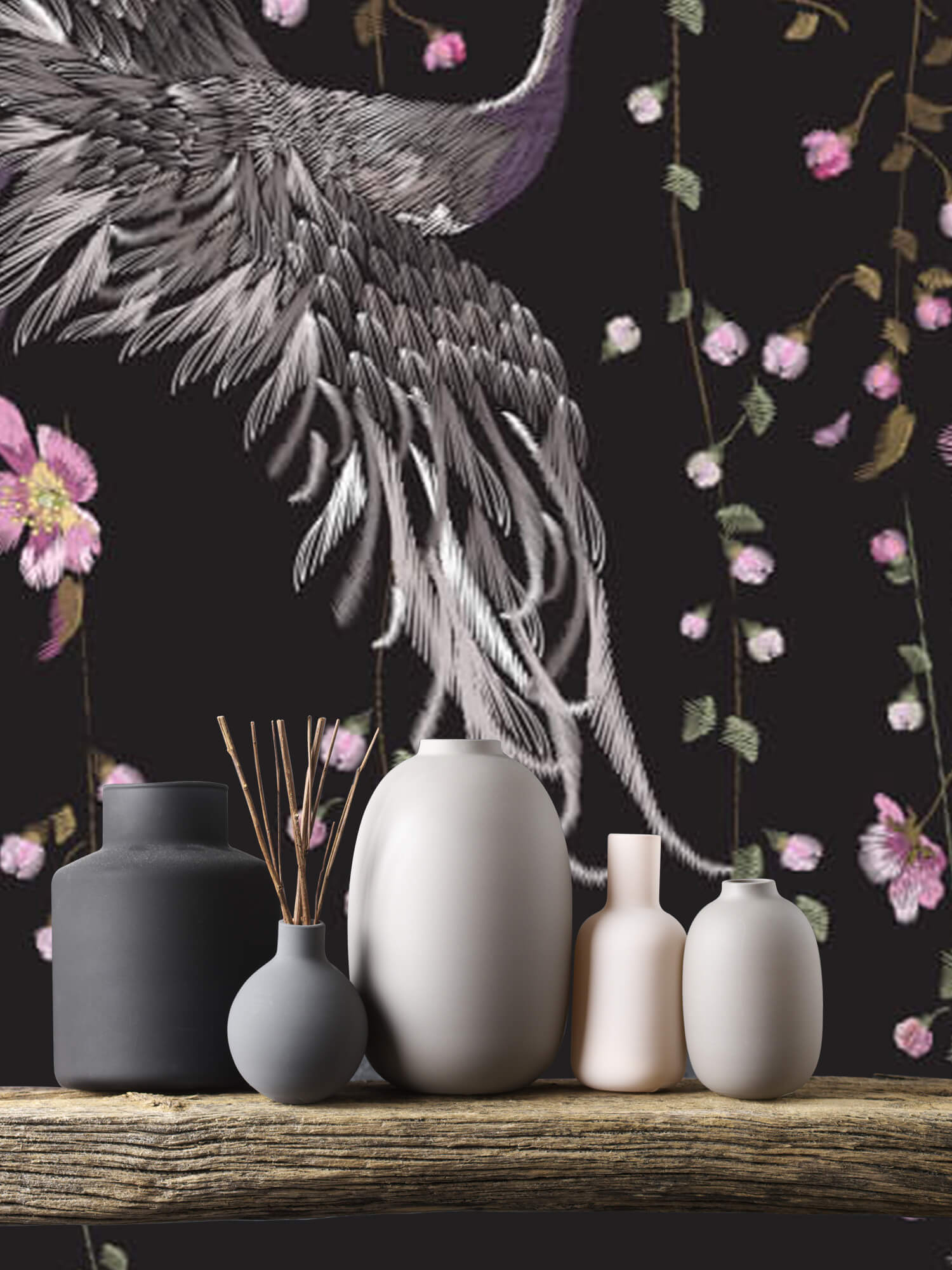 pattern Kraanvogel bij roze bloemen 8