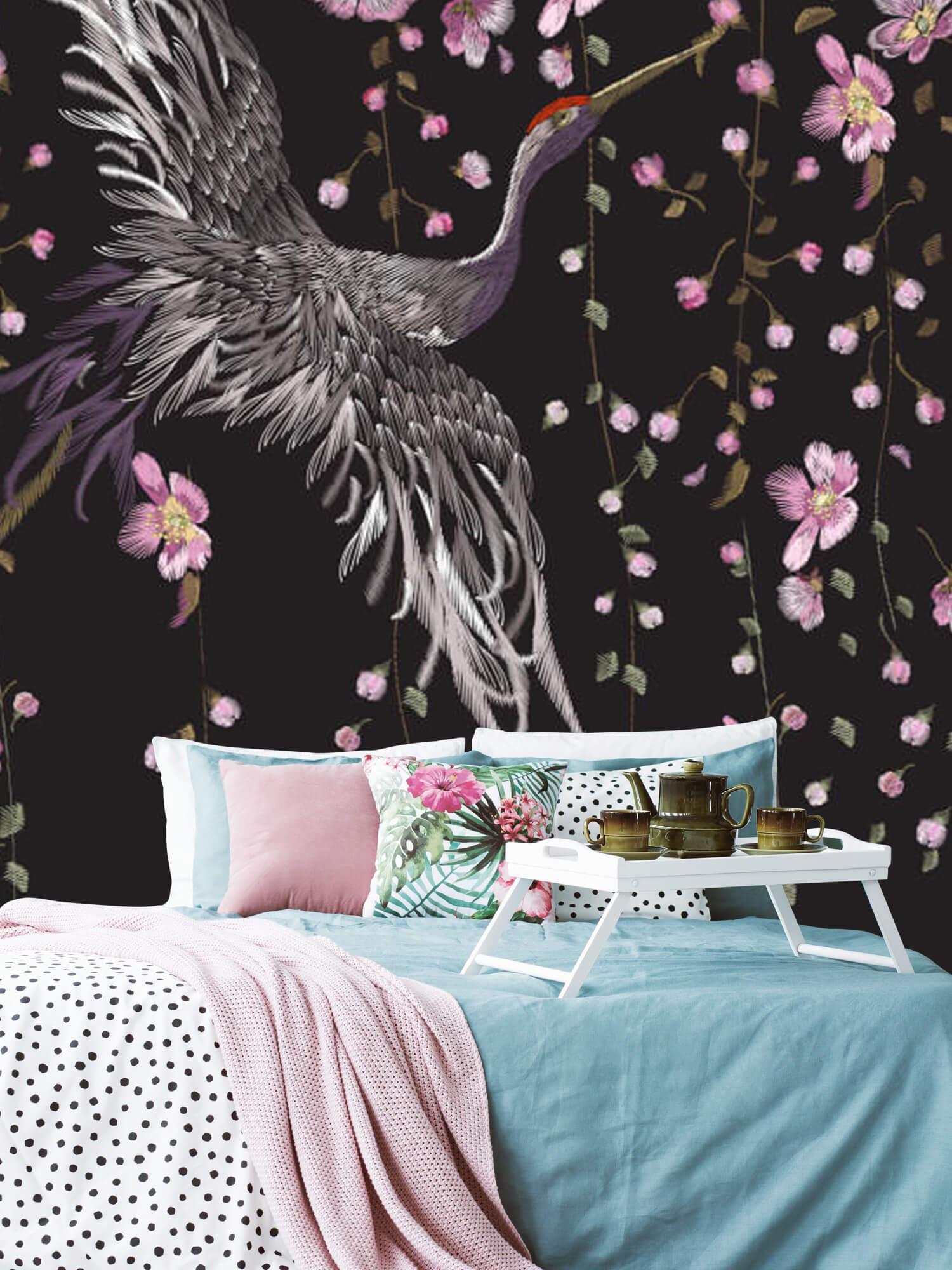 pattern Kraanvogel bij roze bloemen 3