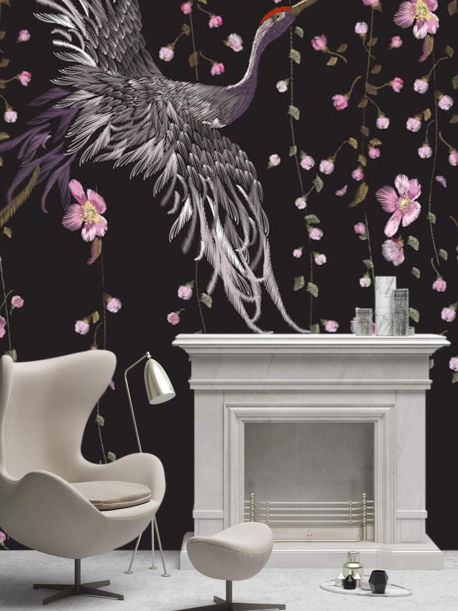 pattern Kraanvogel bij roze bloemen 2