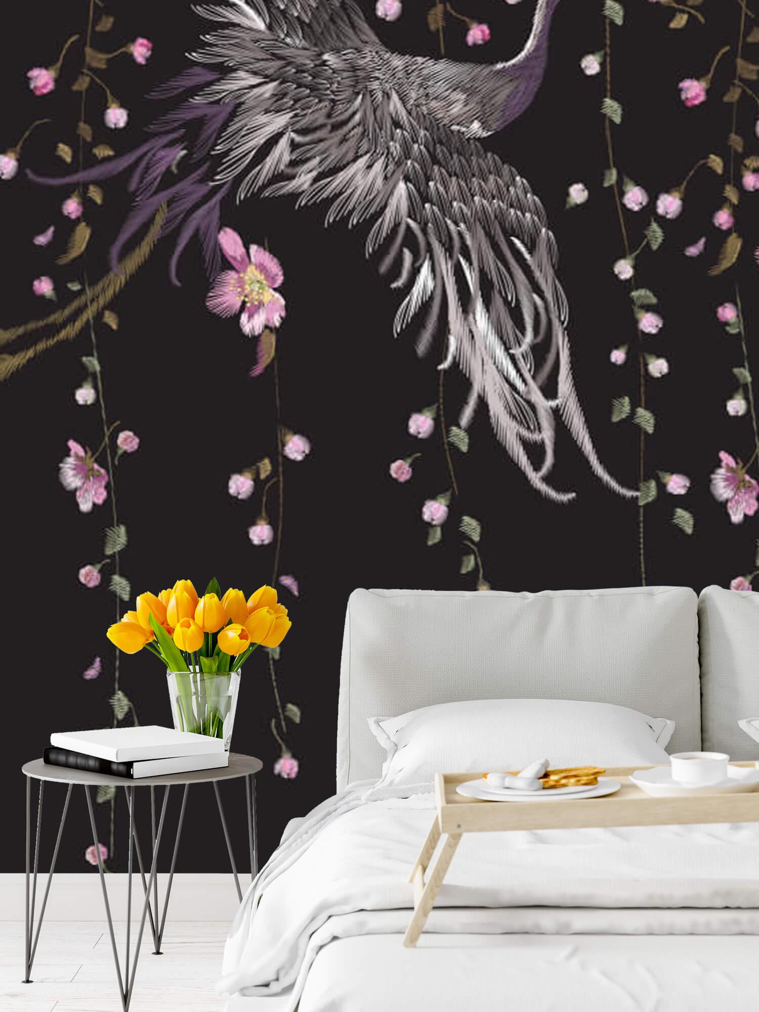 pattern Kraanvogel bij roze bloemen 9