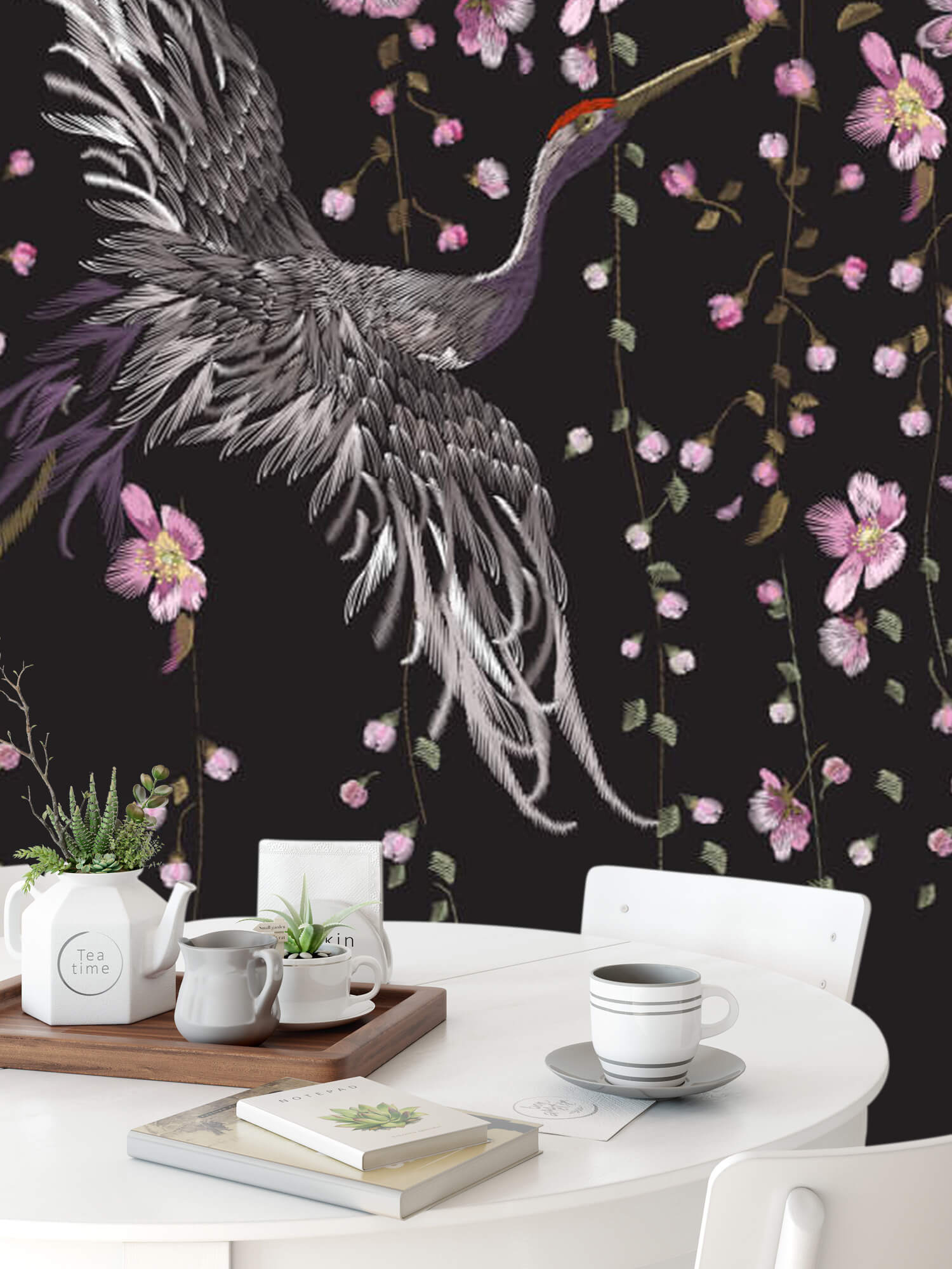pattern Kraanvogel bij roze bloemen 10