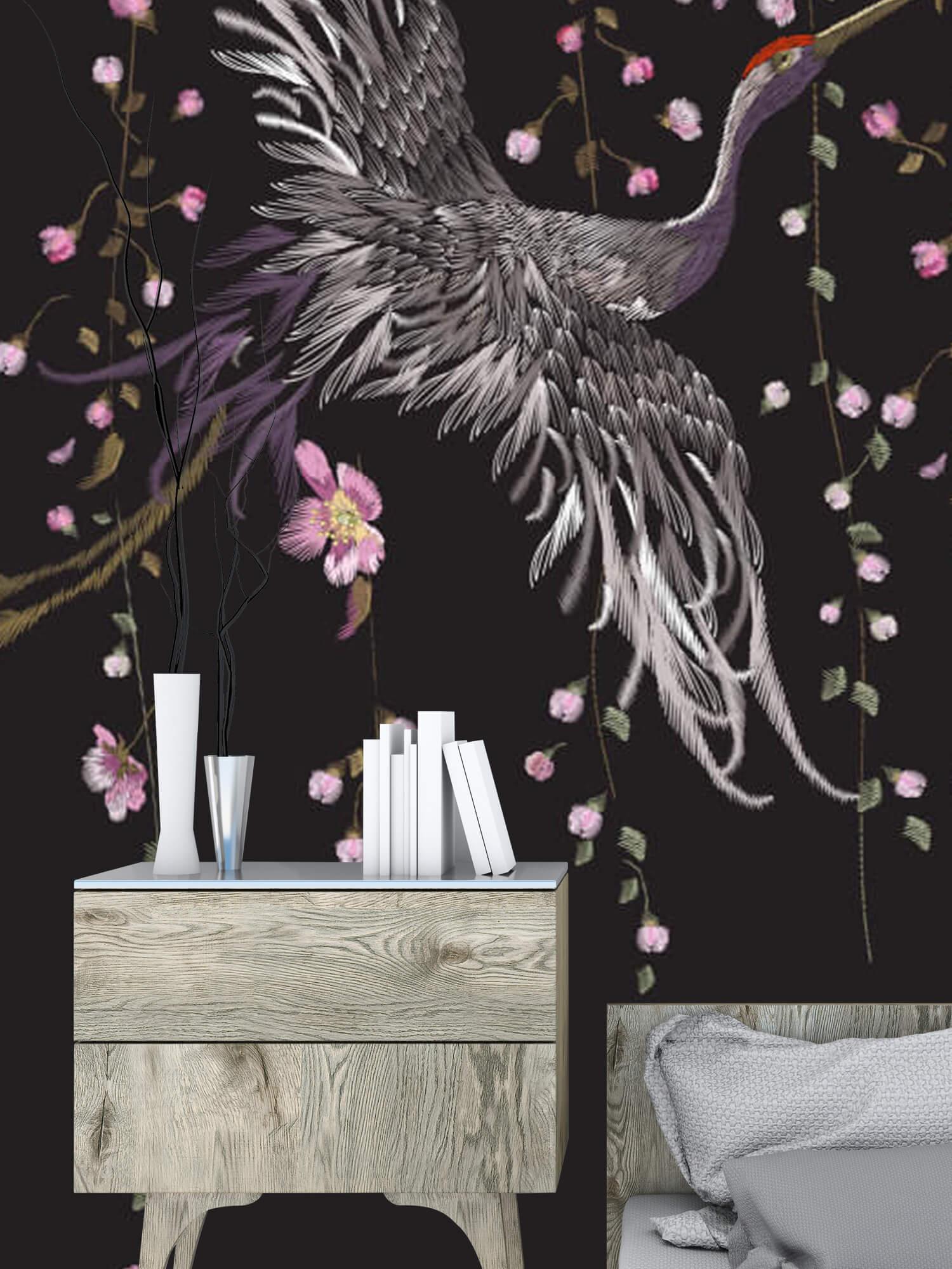 pattern Kraanvogel bij roze bloemen 4