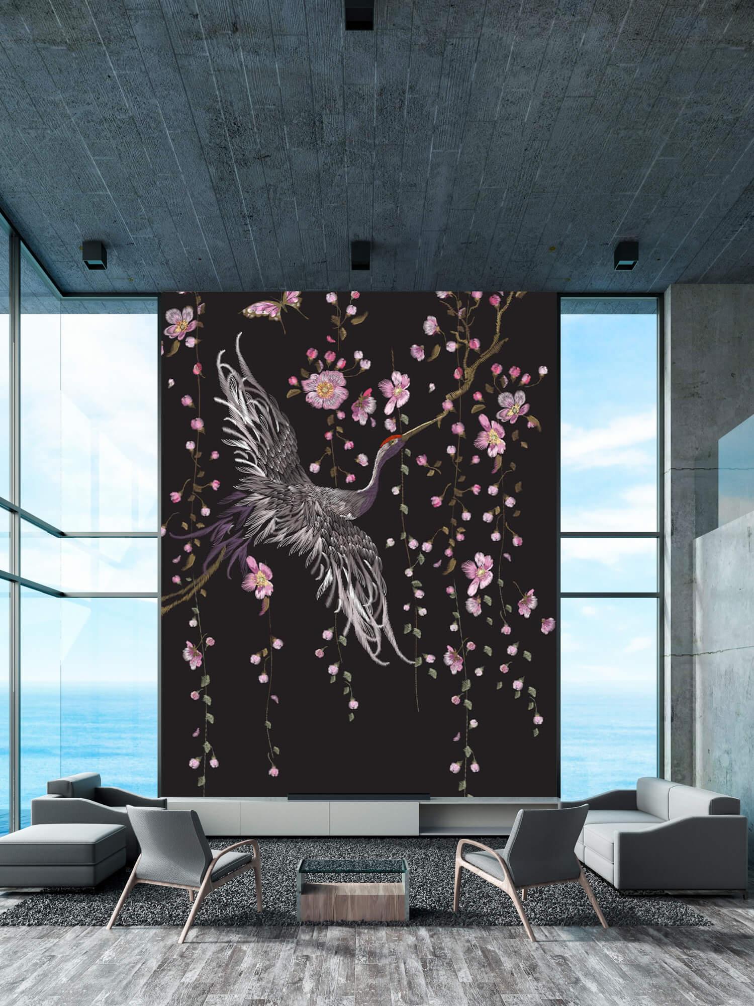 pattern Kraanvogel bij roze bloemen 1
