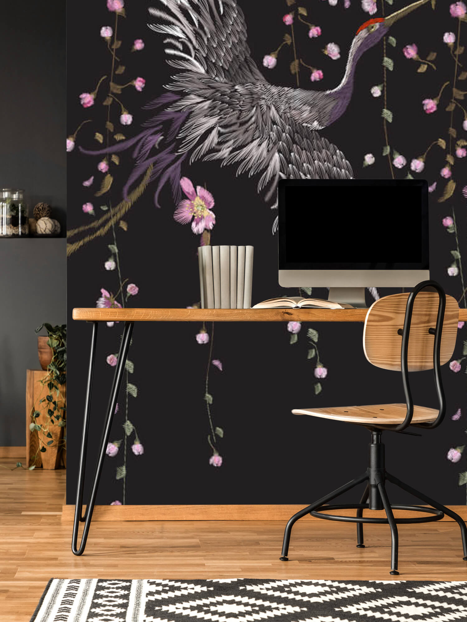 pattern Kraanvogel bij roze bloemen 11