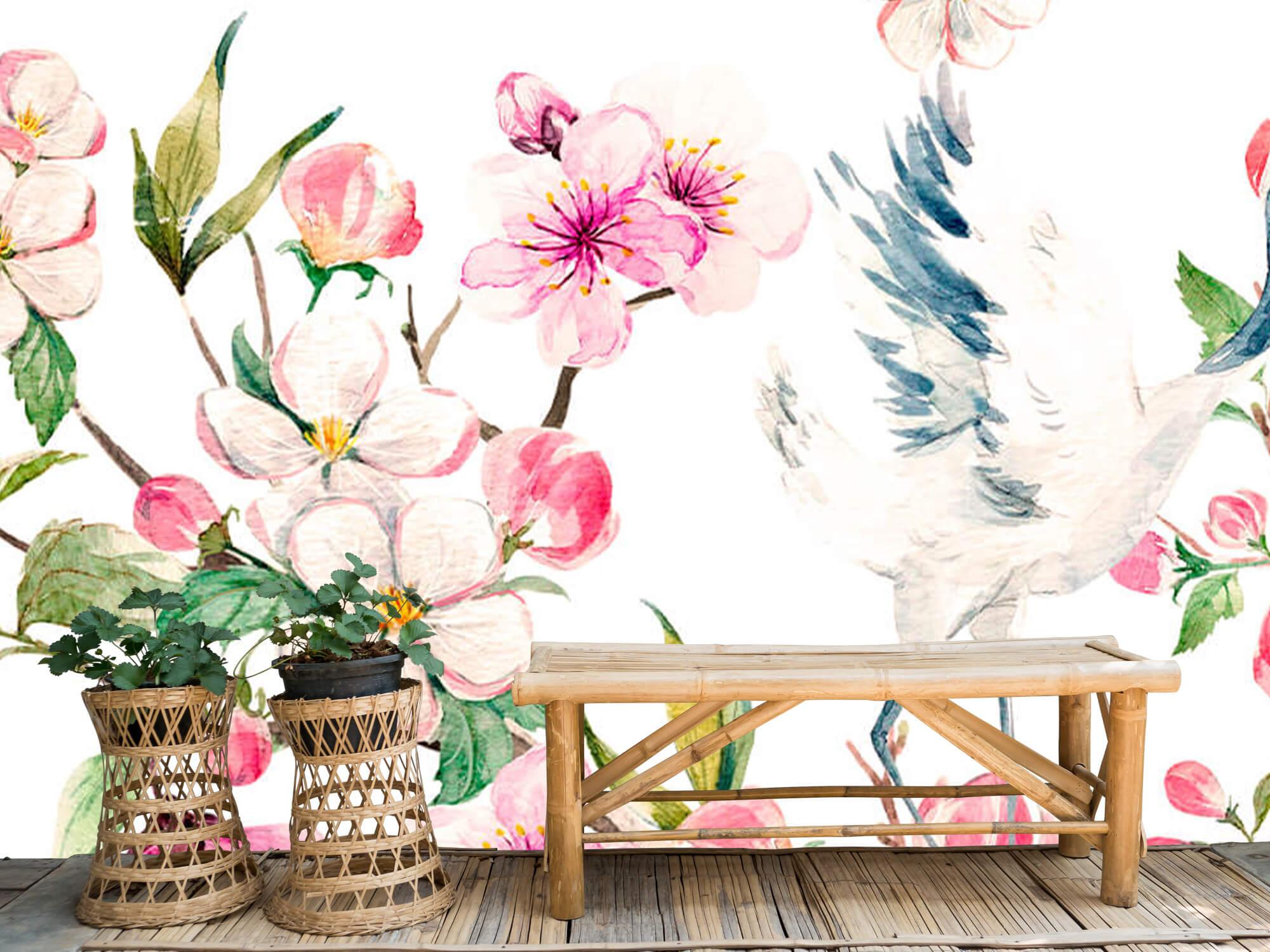 pattern Geverfde kraanvogels bij bloemen 5