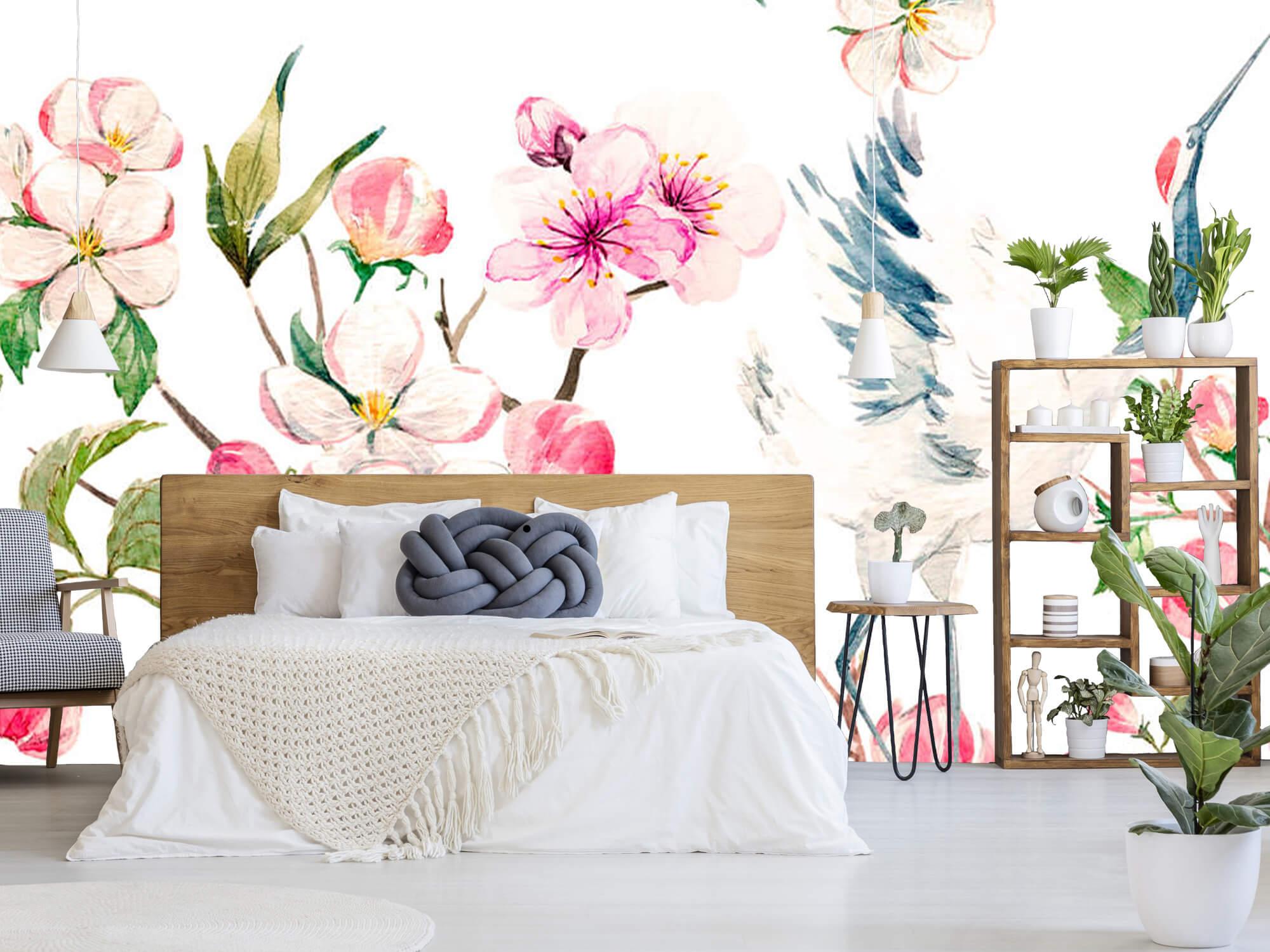 pattern Geverfde kraanvogels bij bloemen 7