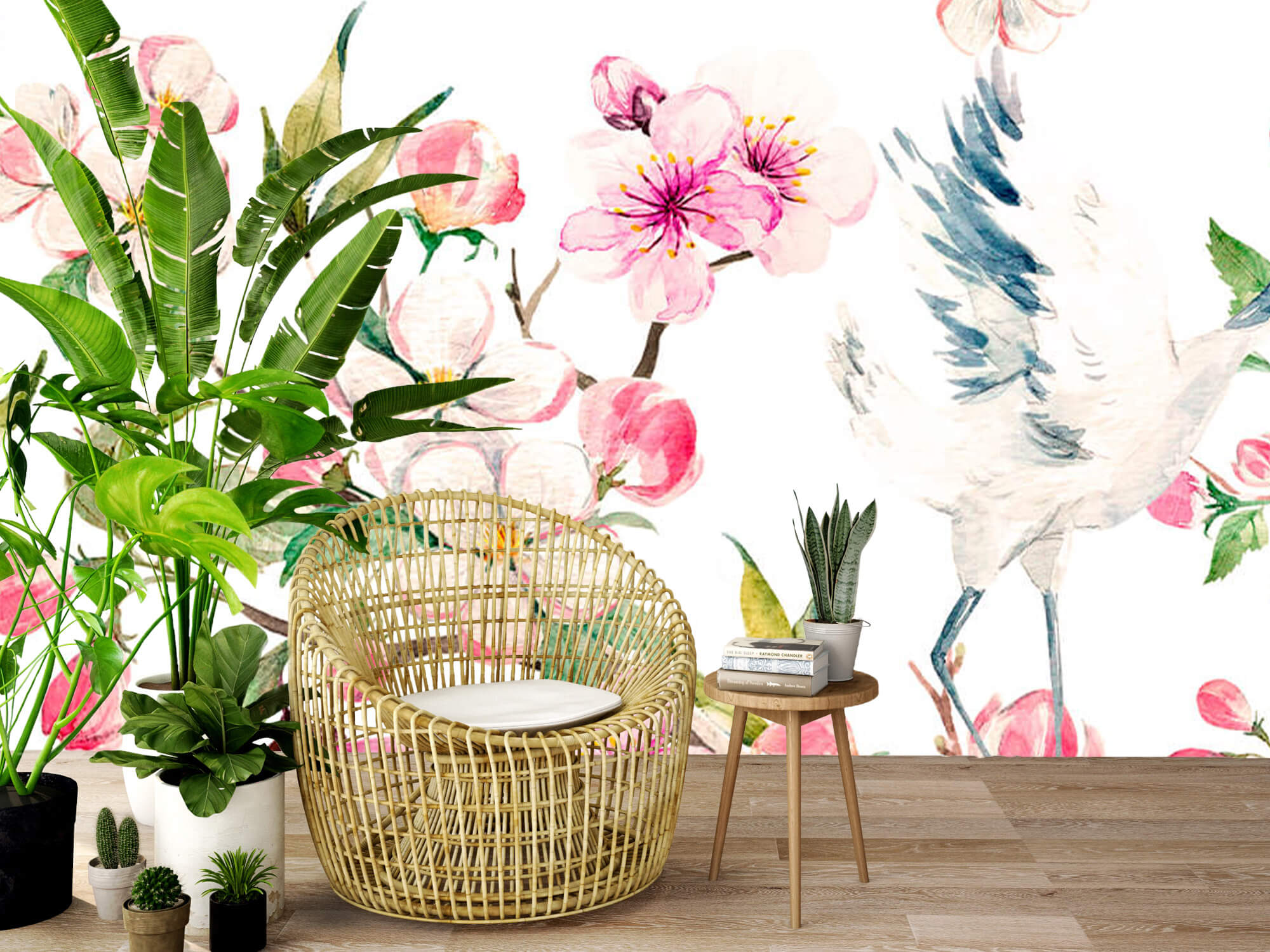pattern Geverfde kraanvogels bij bloemen 9