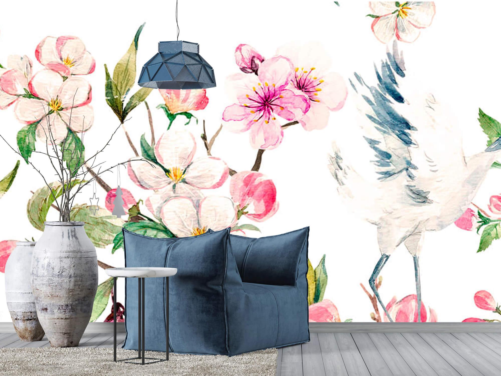 pattern Geverfde kraanvogels bij bloemen 3