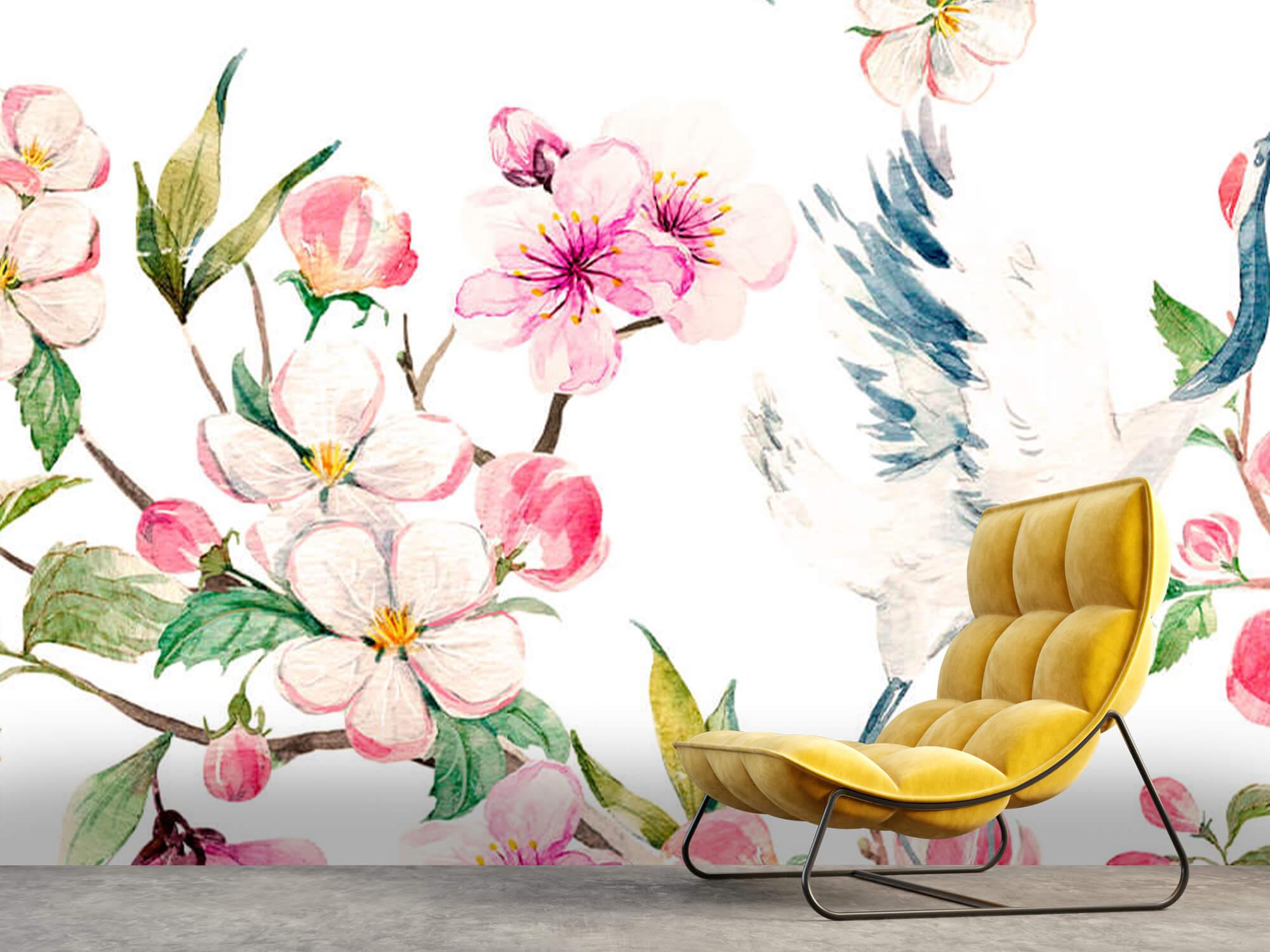 pattern Geverfde kraanvogels bij bloemen 11