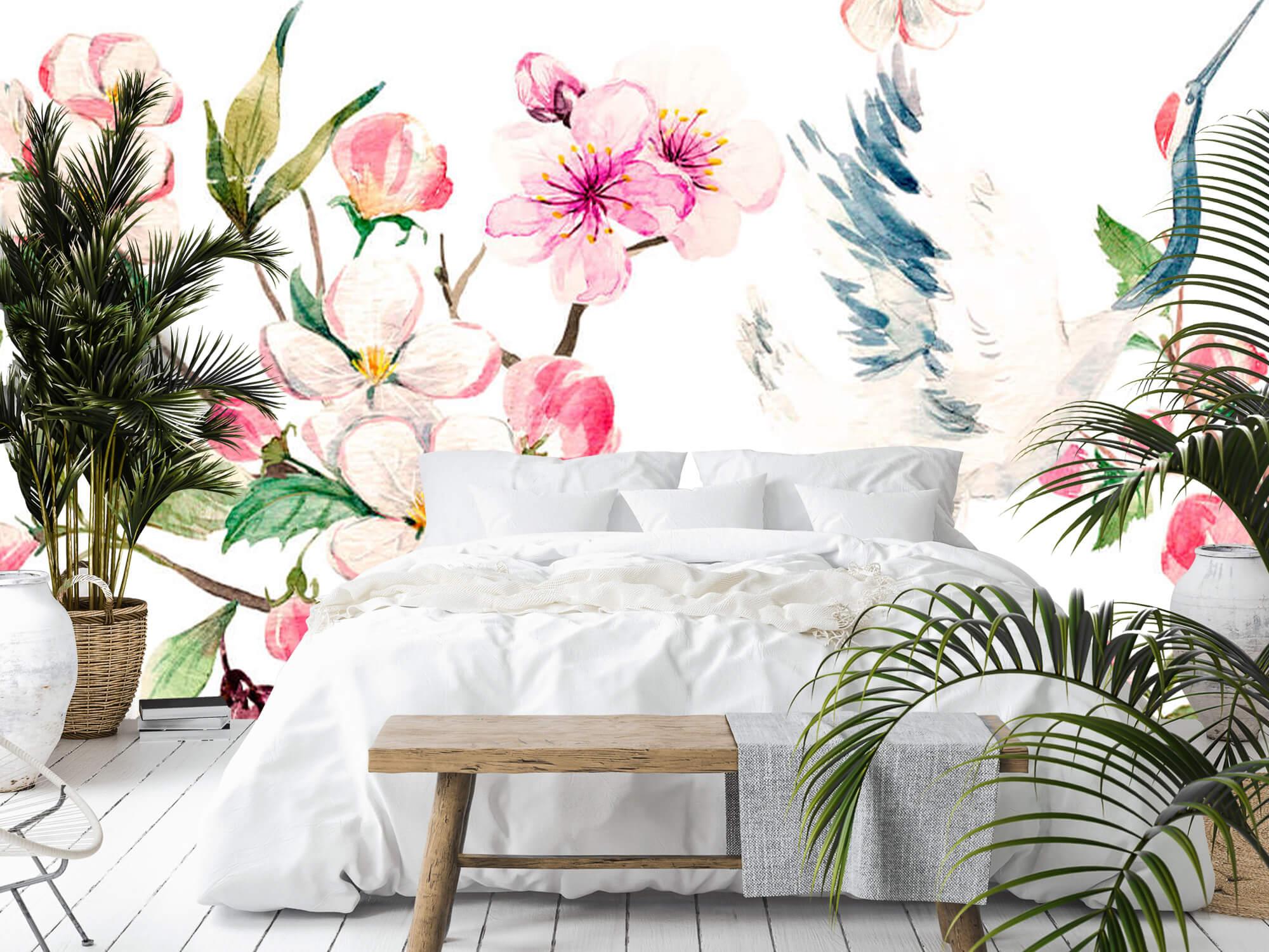 pattern Geverfde kraanvogels bij bloemen 1