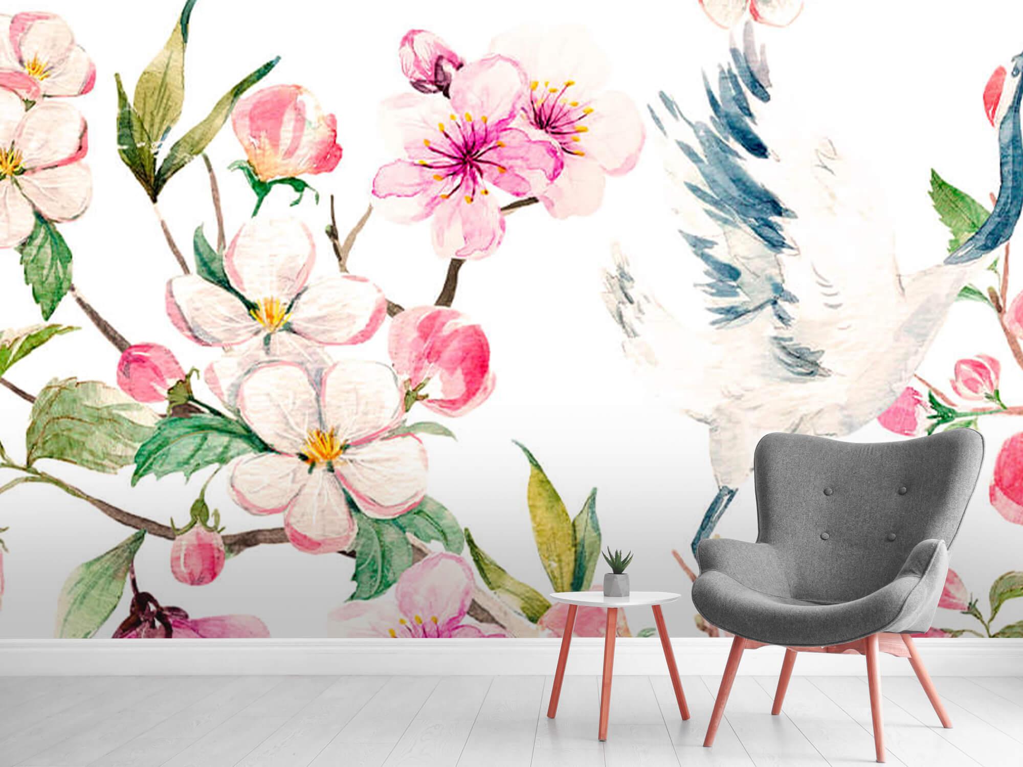 pattern Geverfde kraanvogels bij bloemen 4