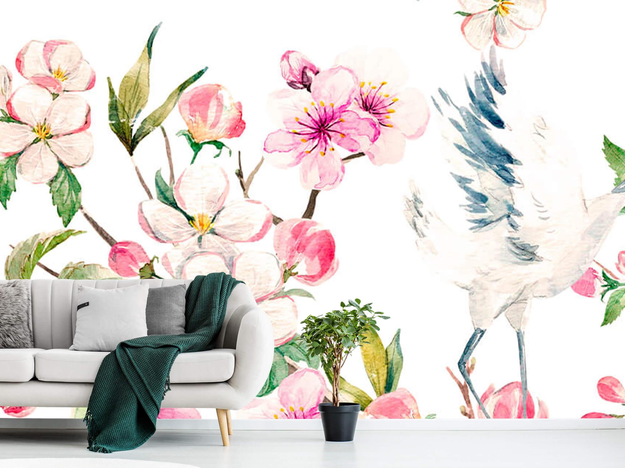 pattern Geverfde kraanvogels bij bloemen 10