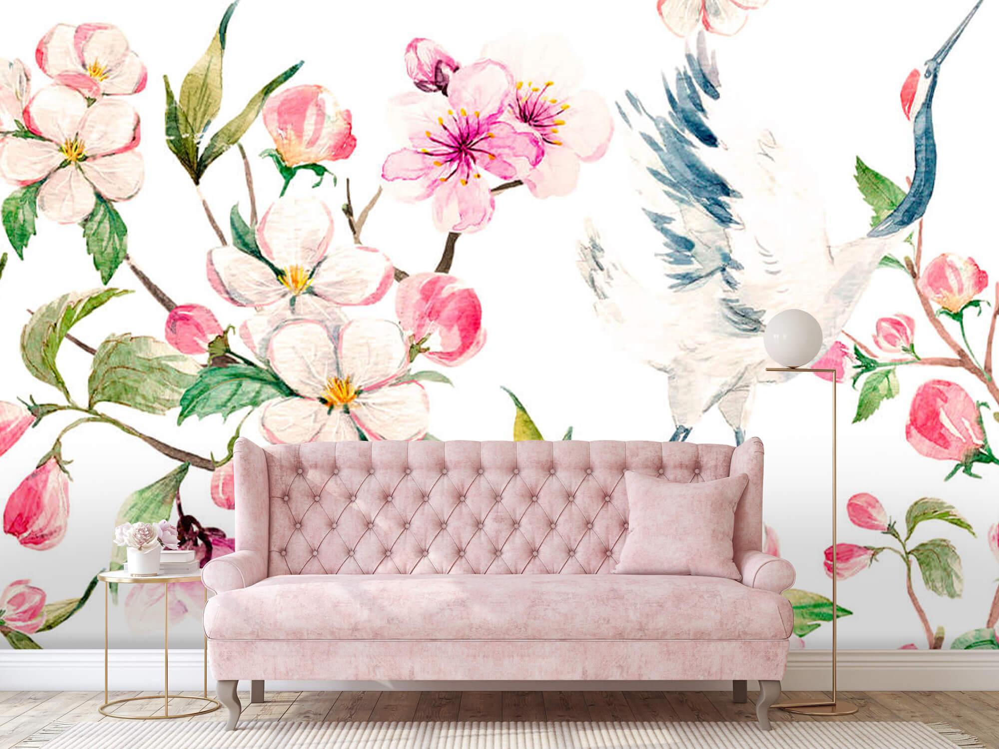pattern Geverfde kraanvogels bij bloemen 2