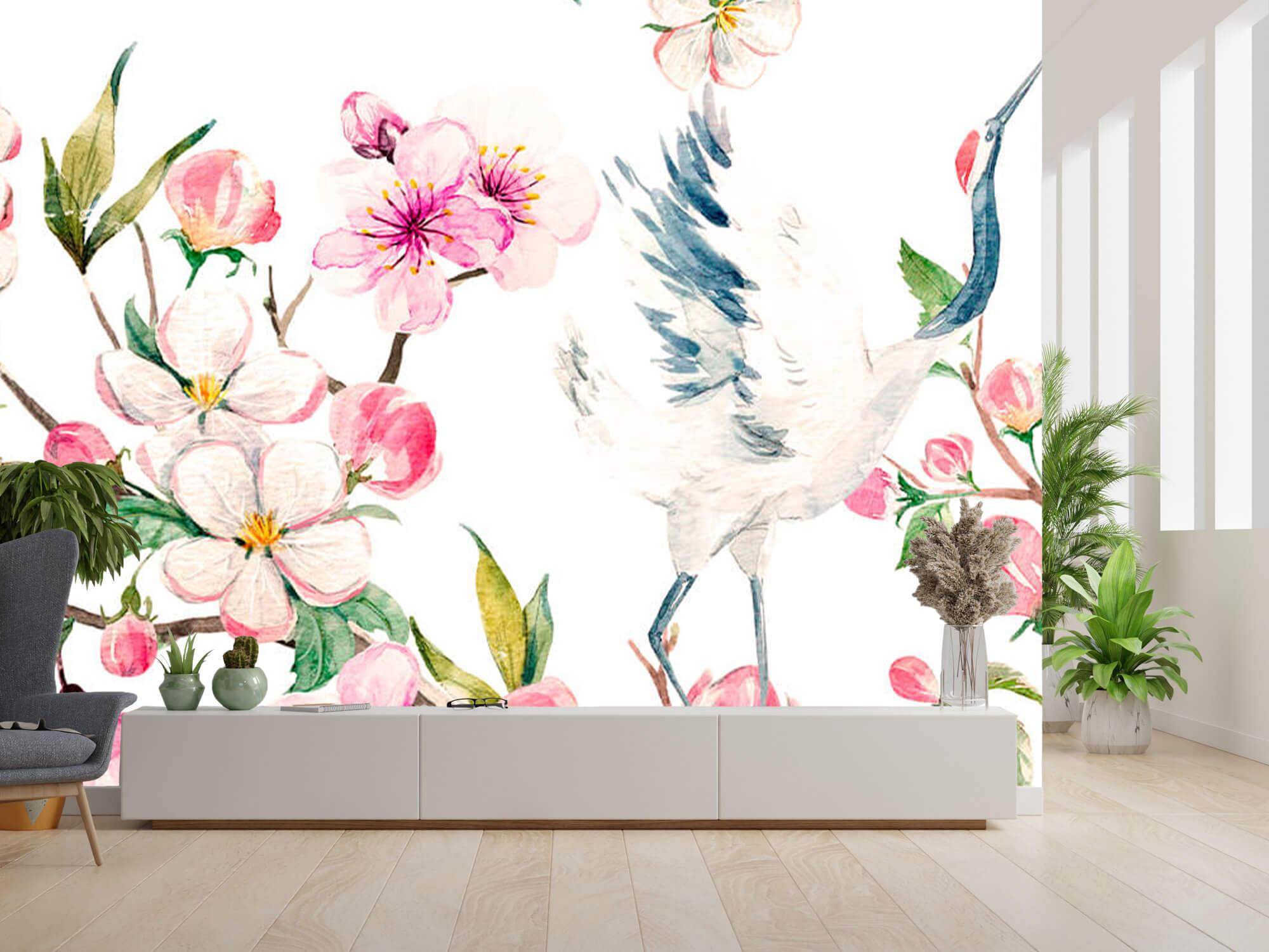 pattern Geverfde kraanvogels bij bloemen 8