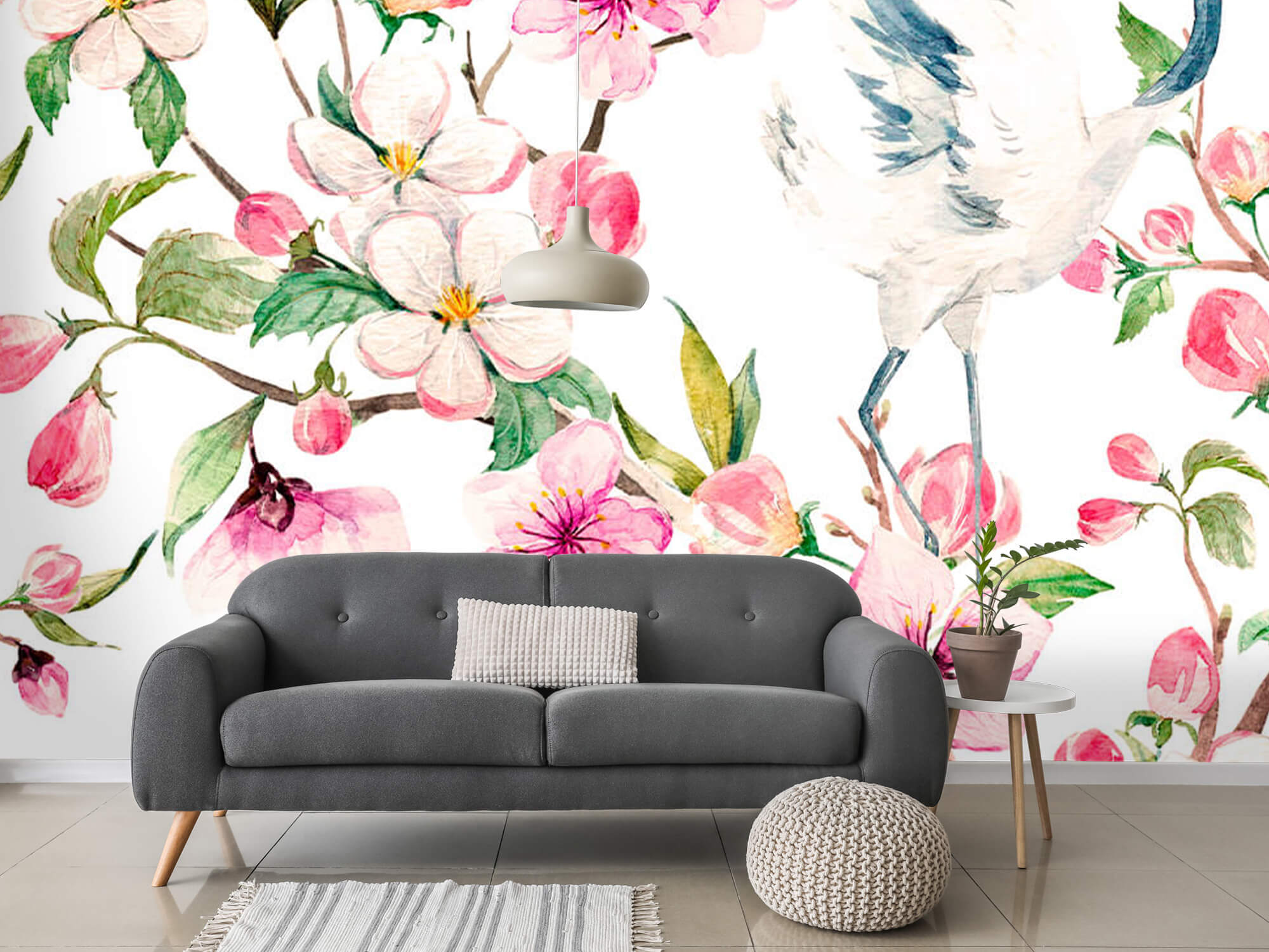 pattern Geverfde kraanvogels bij bloemen 6