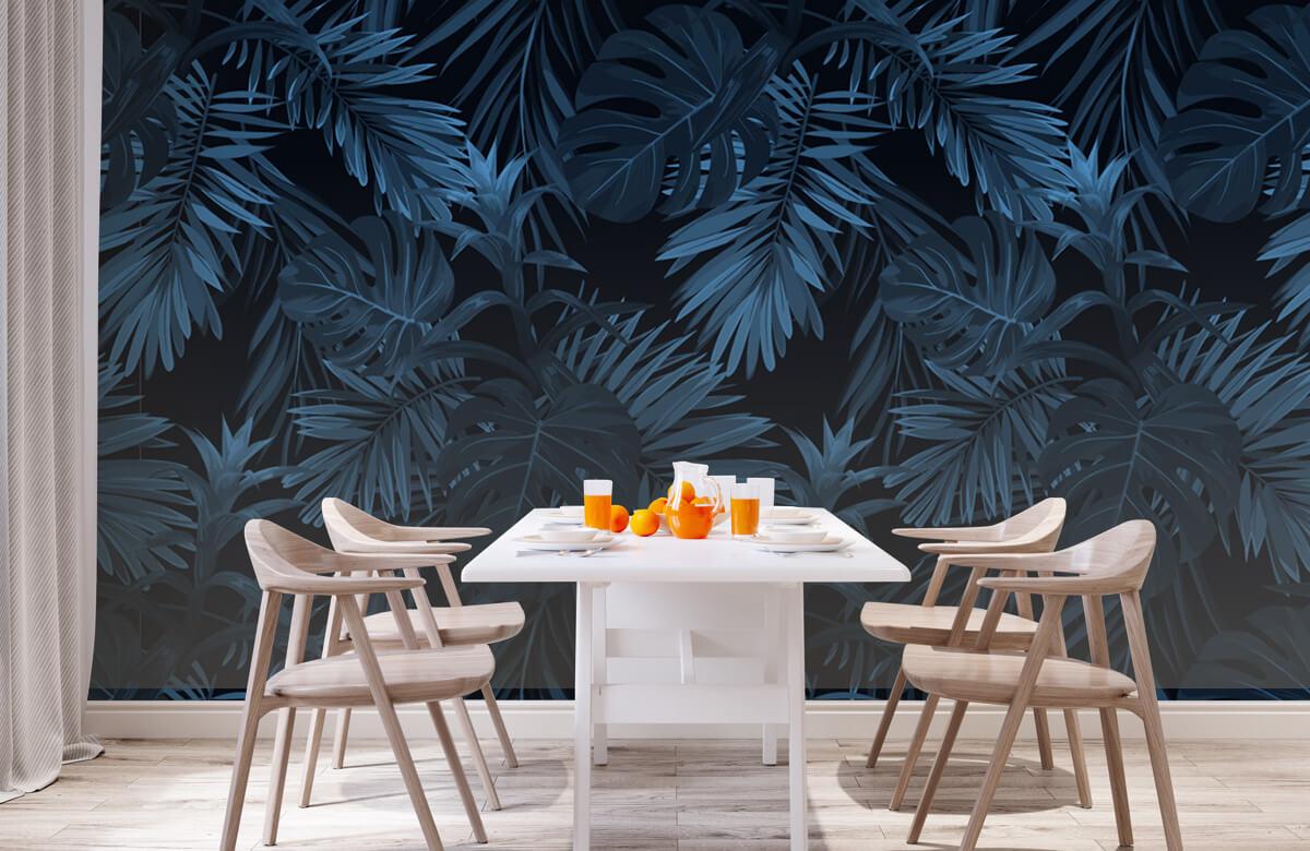 pattern Blauwe tropische bladeren 2