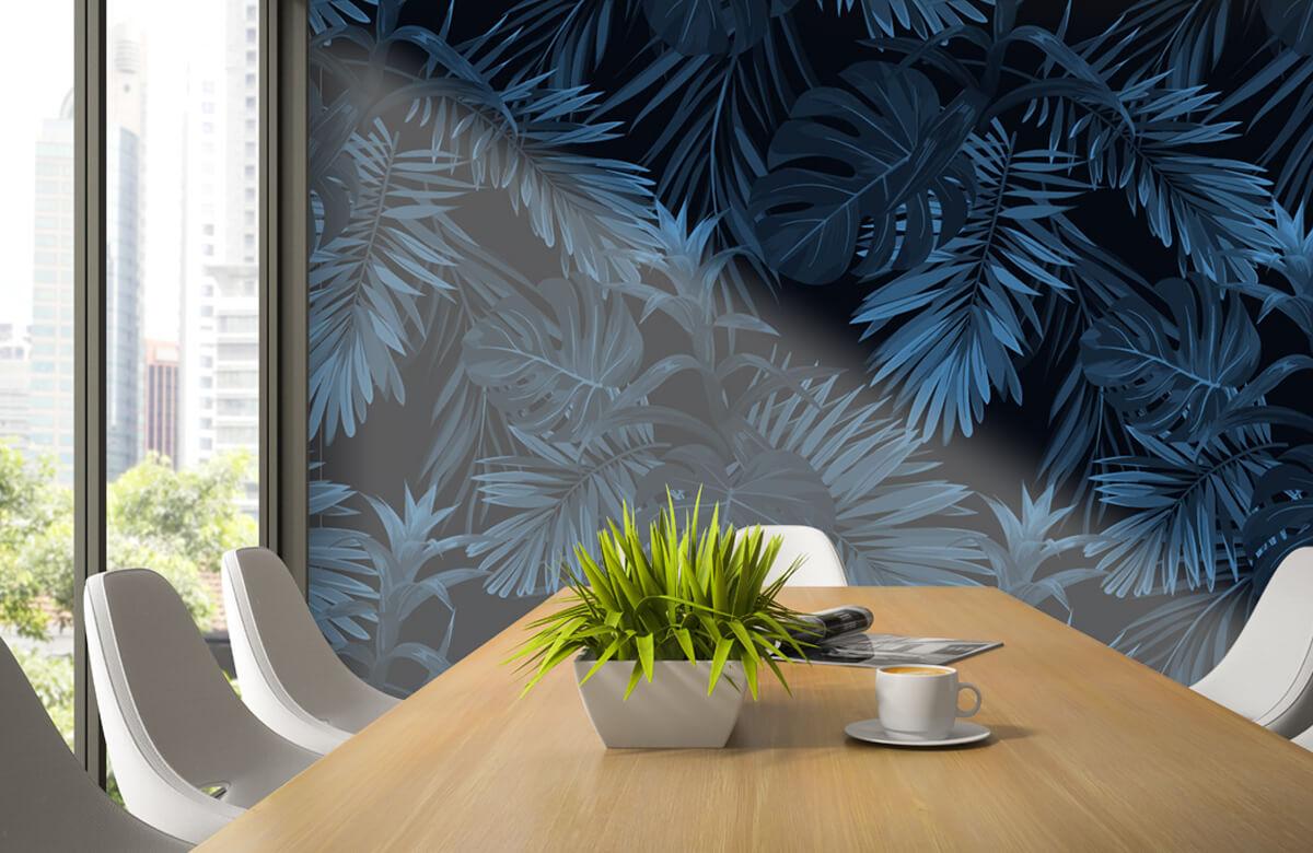 pattern Blauwe tropische bladeren 5