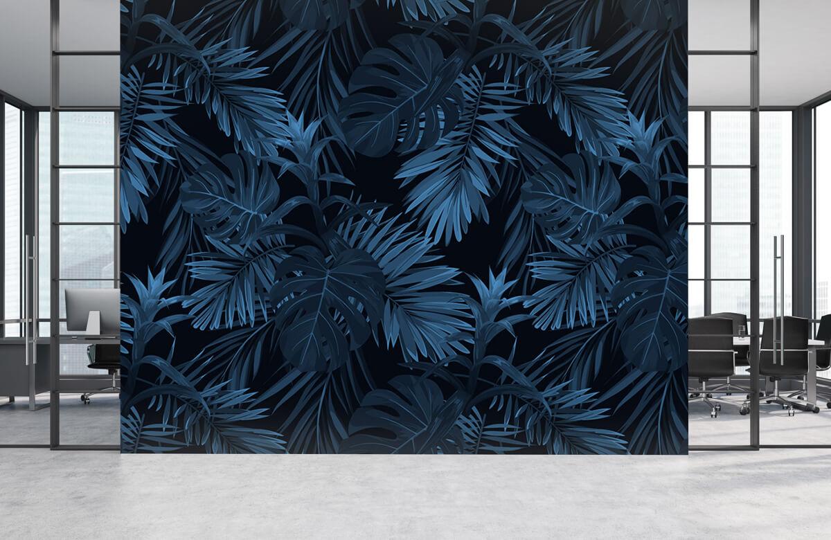 pattern Blauwe tropische bladeren 1