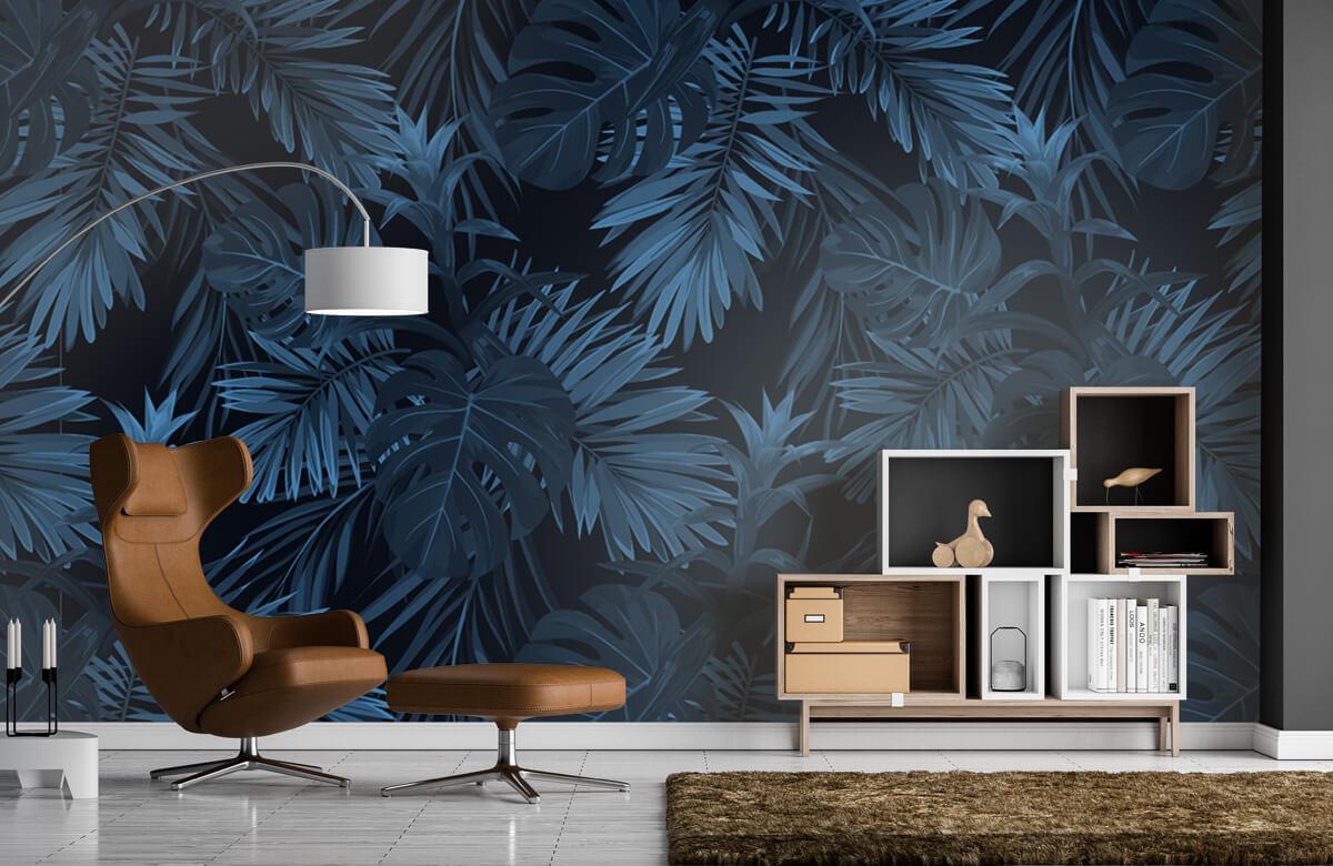 pattern Blauwe tropische bladeren 3